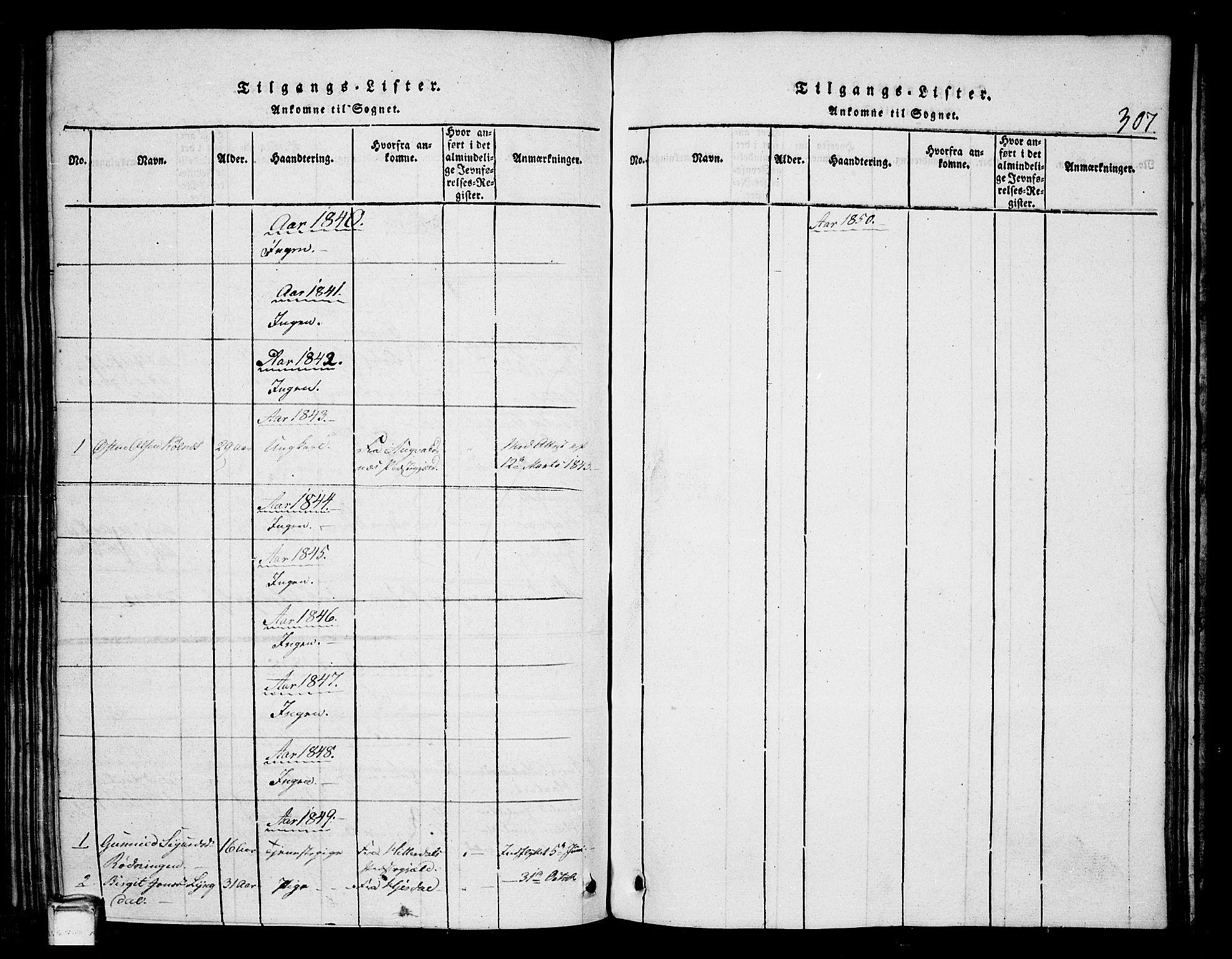 SAKO, Tinn kirkebøker, G/Gb/L0001: Klokkerbok nr. II 1 /1, 1815-1850, s. 307