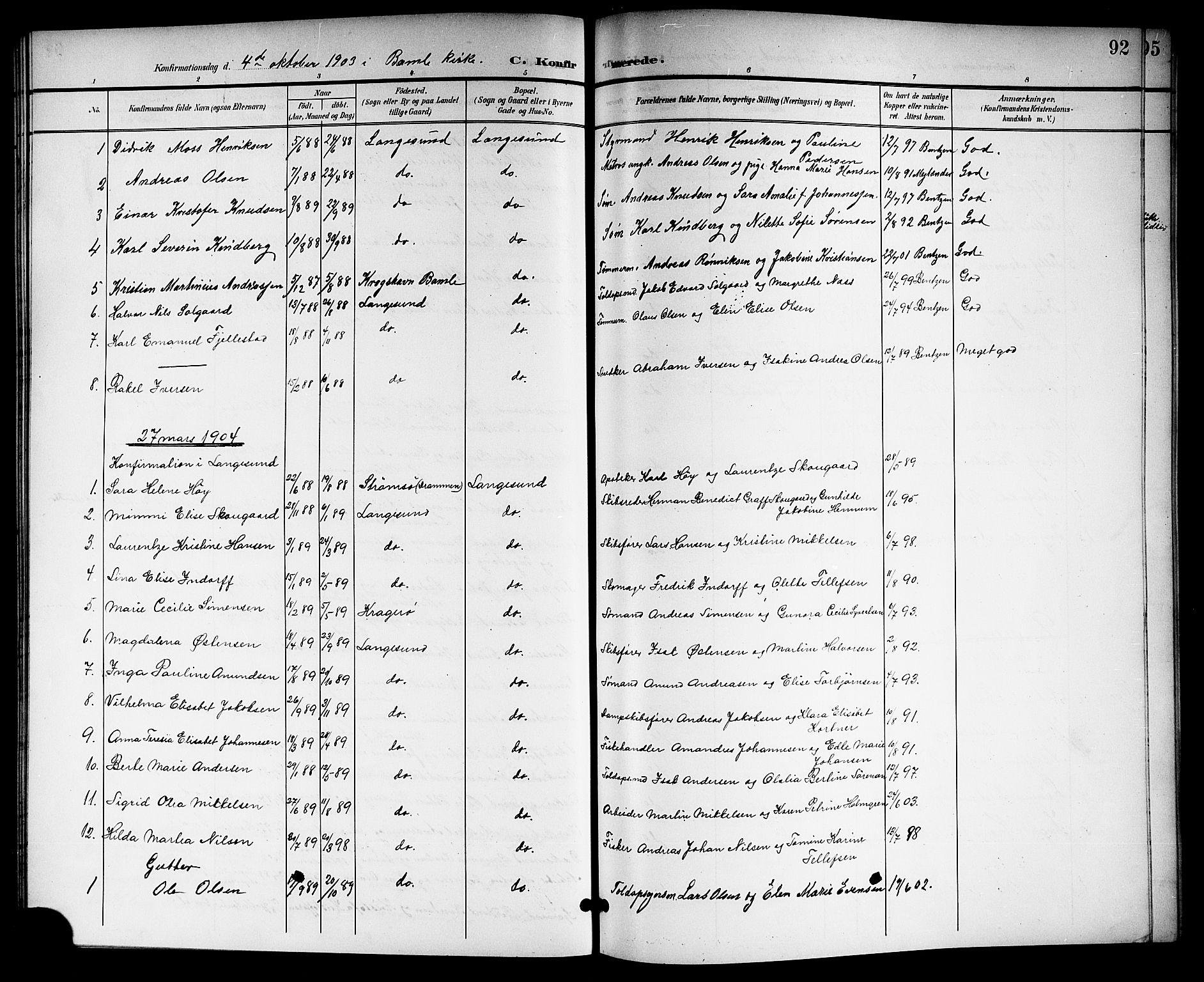 SAKO, Langesund kirkebøker, G/Ga/L0006: Klokkerbok nr. 6, 1899-1918, s. 92