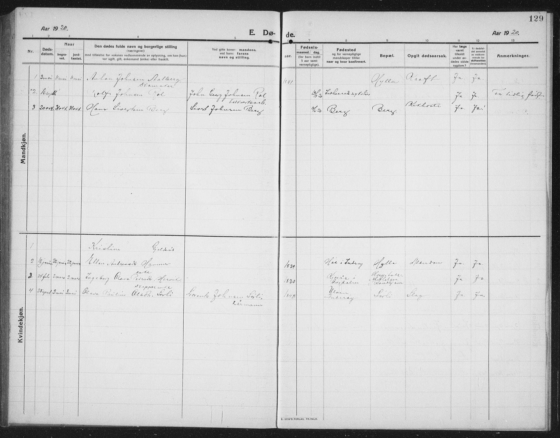 SAT, Ministerialprotokoller, klokkerbøker og fødselsregistre - Nord-Trøndelag, 731/L0312: Klokkerbok nr. 731C03, 1911-1935, s. 129