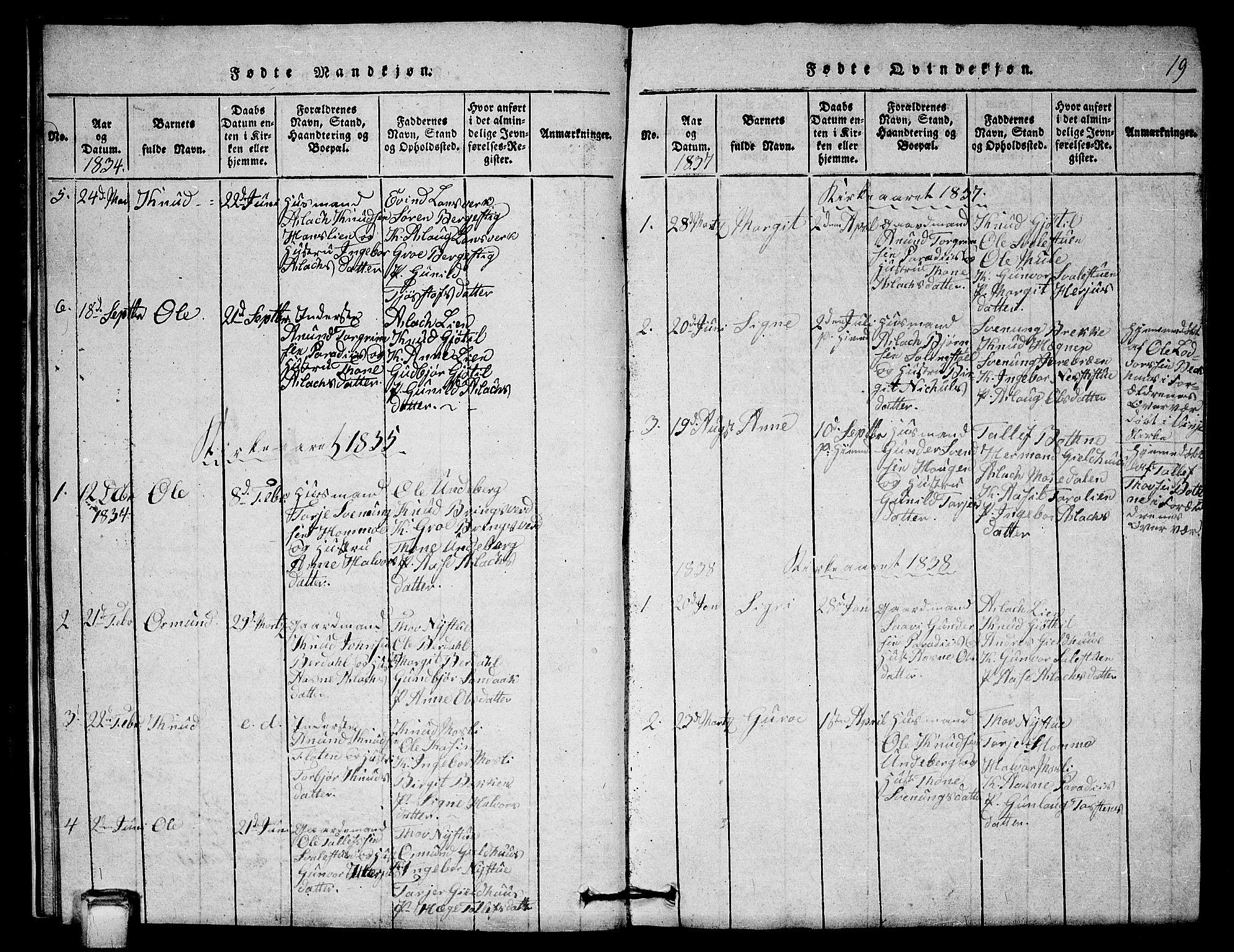 SAKO, Vinje kirkebøker, G/Gb/L0001: Klokkerbok nr. II 1, 1814-1843, s. 19