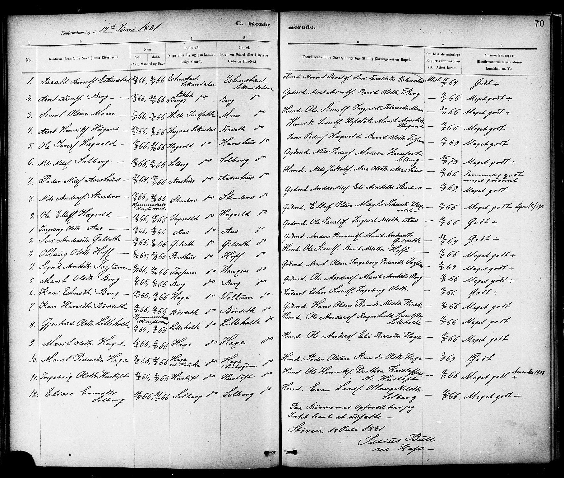 SAT, Ministerialprotokoller, klokkerbøker og fødselsregistre - Sør-Trøndelag, 689/L1040: Ministerialbok nr. 689A05, 1878-1890, s. 70