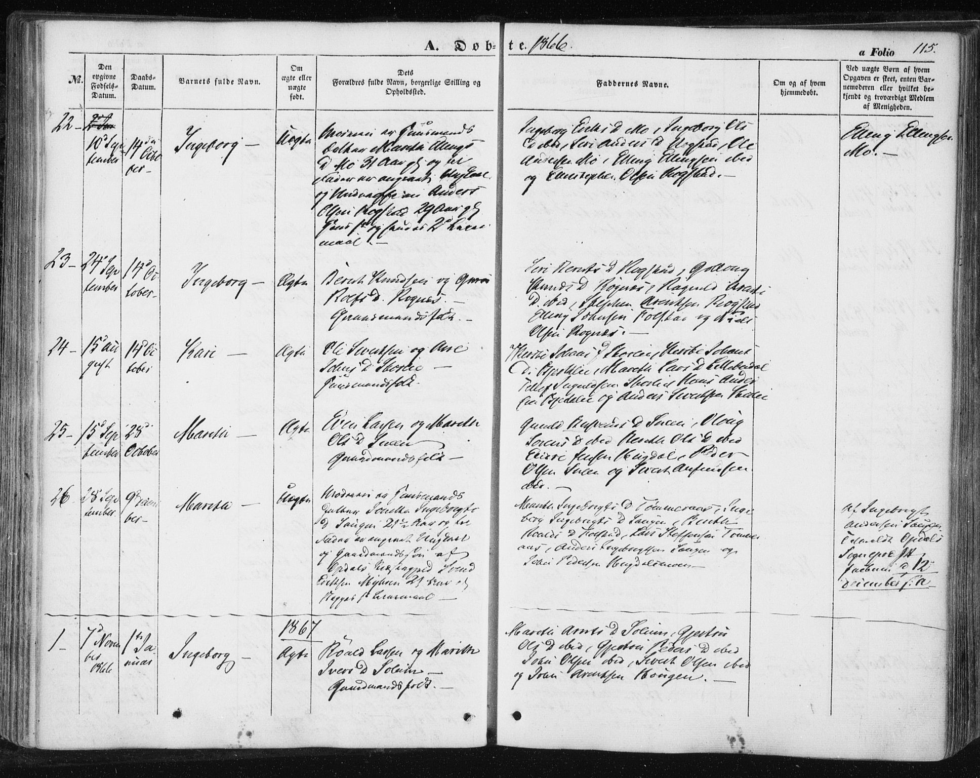 SAT, Ministerialprotokoller, klokkerbøker og fødselsregistre - Sør-Trøndelag, 687/L1000: Ministerialbok nr. 687A06, 1848-1869, s. 115