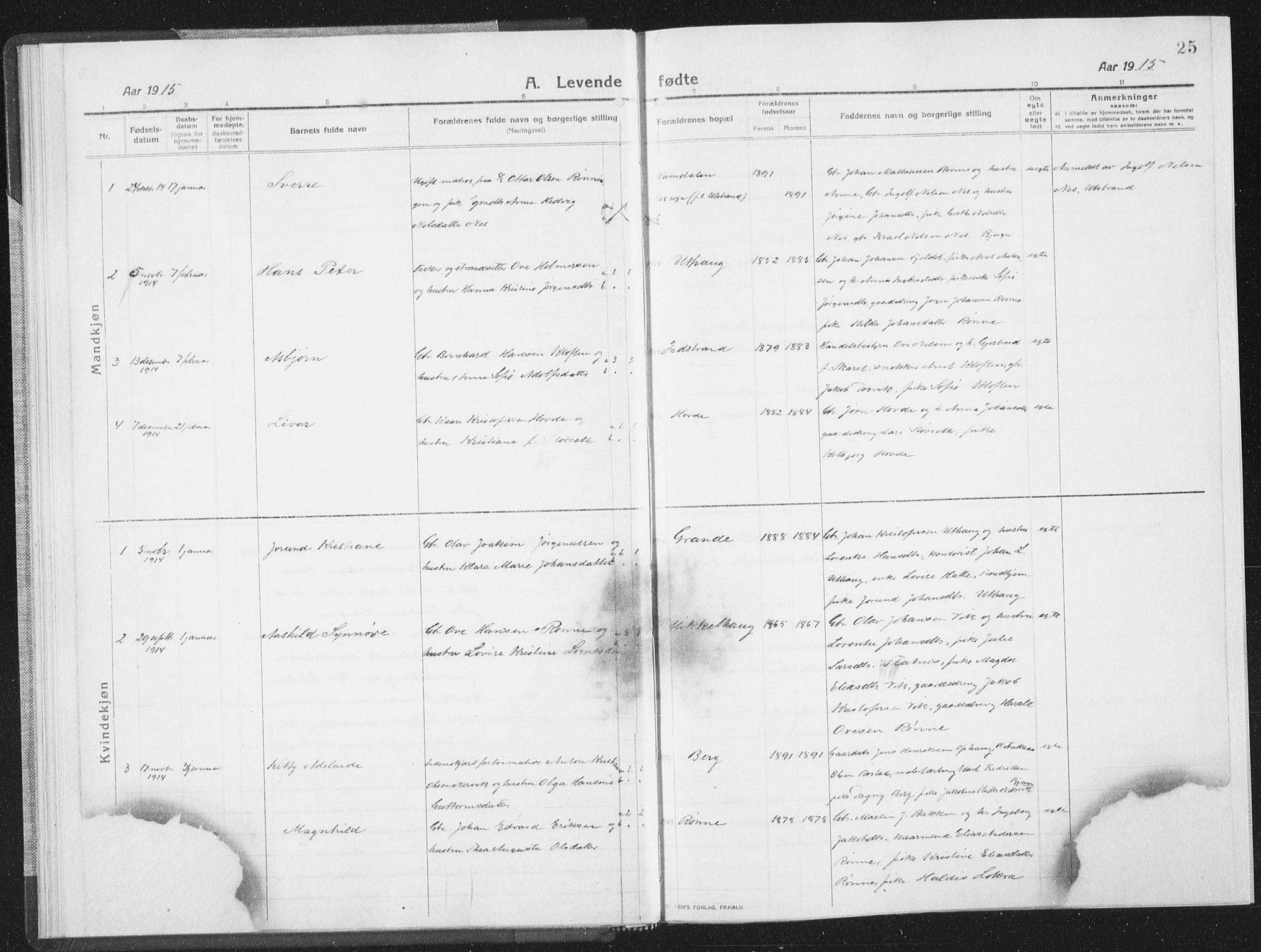 SAT, Ministerialprotokoller, klokkerbøker og fødselsregistre - Sør-Trøndelag, 659/L0747: Klokkerbok nr. 659C04, 1913-1938, s. 25