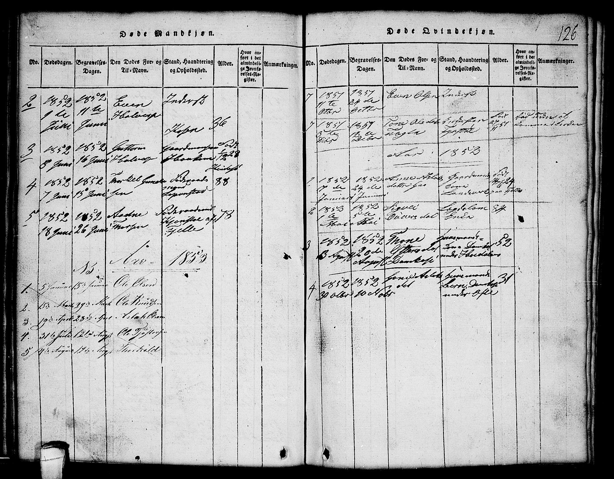 SAKO, Lårdal kirkebøker, G/Gc/L0001: Klokkerbok nr. III 1, 1815-1854, s. 126