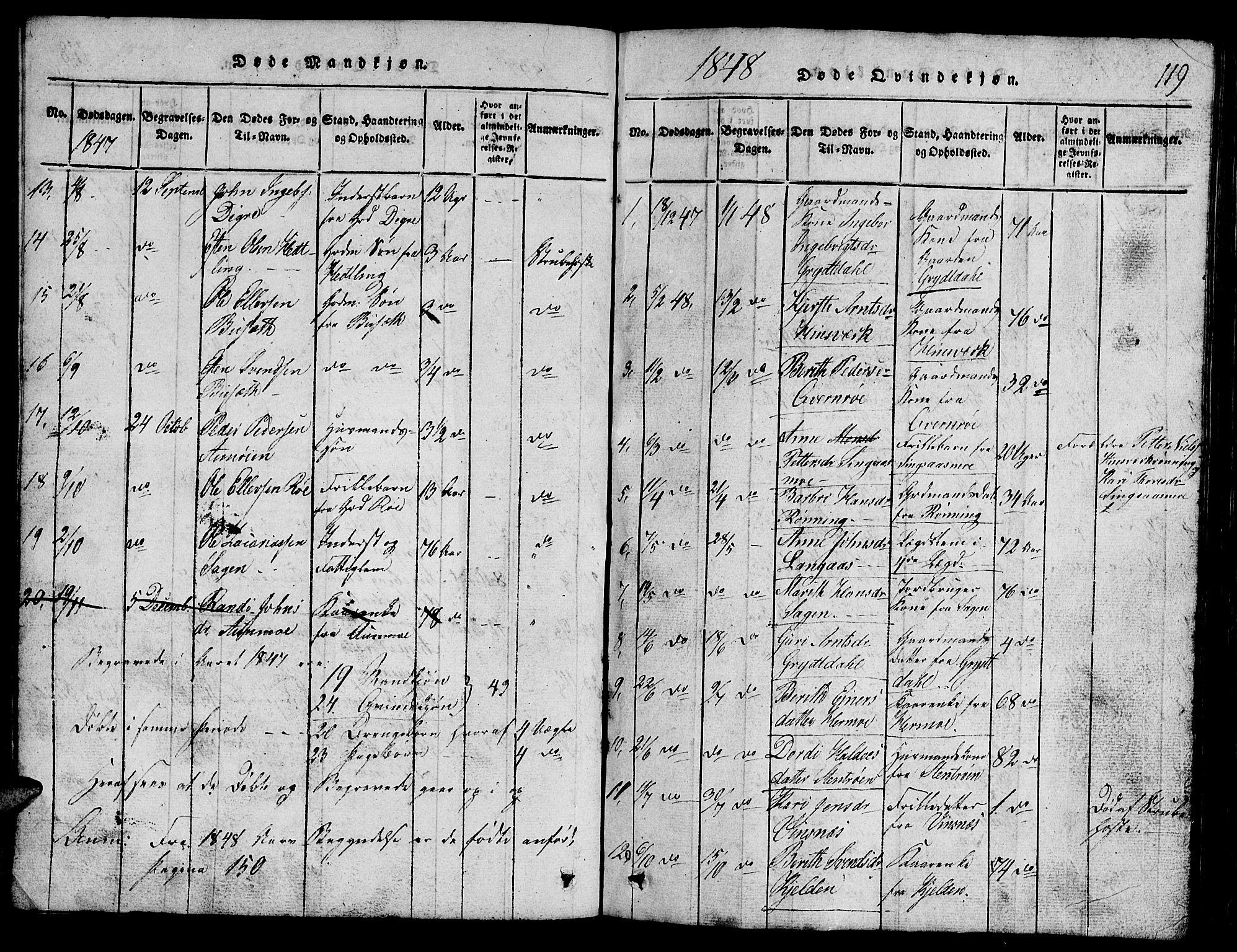SAT, Ministerialprotokoller, klokkerbøker og fødselsregistre - Sør-Trøndelag, 688/L1026: Klokkerbok nr. 688C01, 1817-1860, s. 119