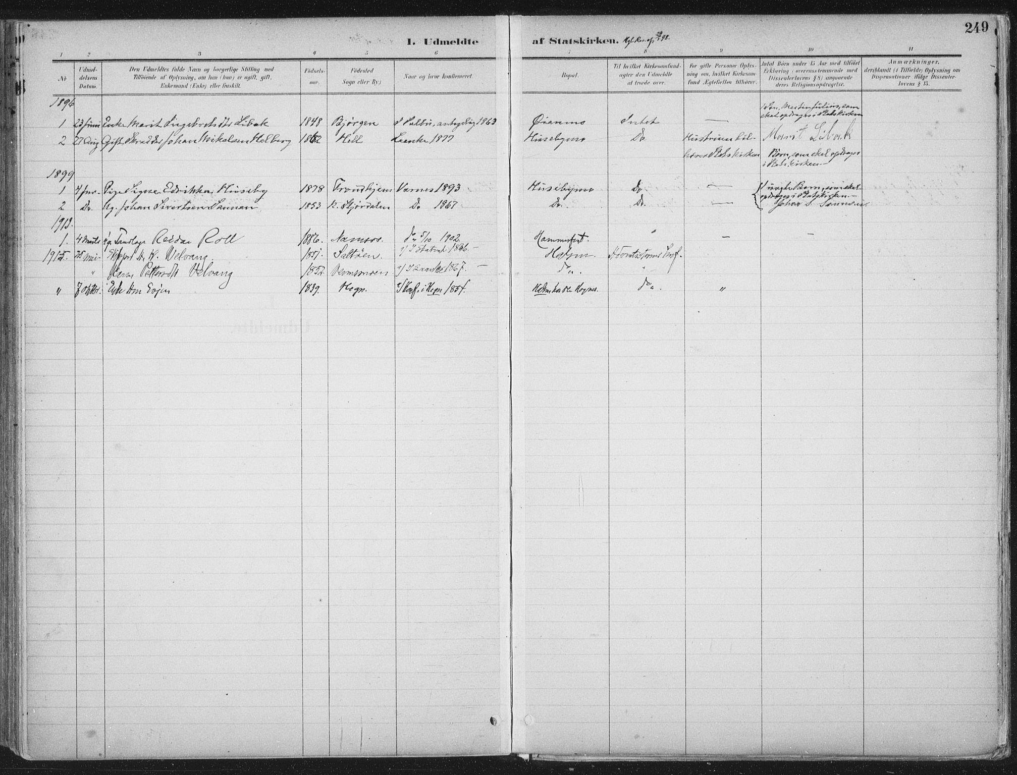 SAT, Ministerialprotokoller, klokkerbøker og fødselsregistre - Nord-Trøndelag, 709/L0082: Ministerialbok nr. 709A22, 1896-1916, s. 249
