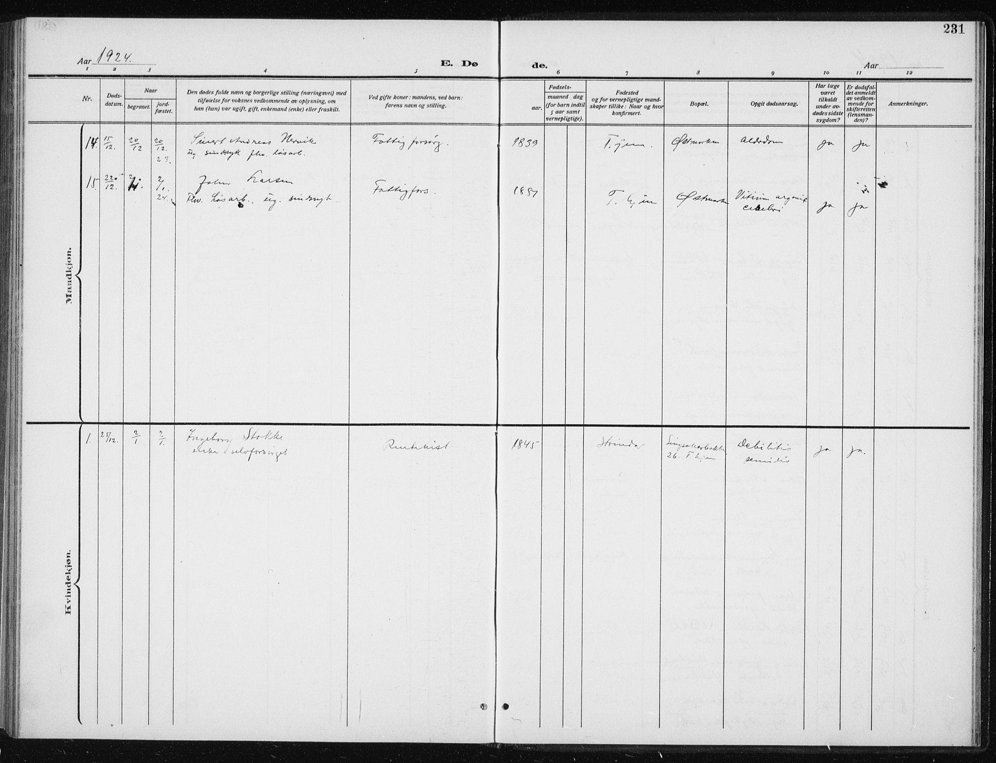 SAT, Ministerialprotokoller, klokkerbøker og fødselsregistre - Sør-Trøndelag, 606/L0314: Klokkerbok nr. 606C10, 1911-1937, s. 231