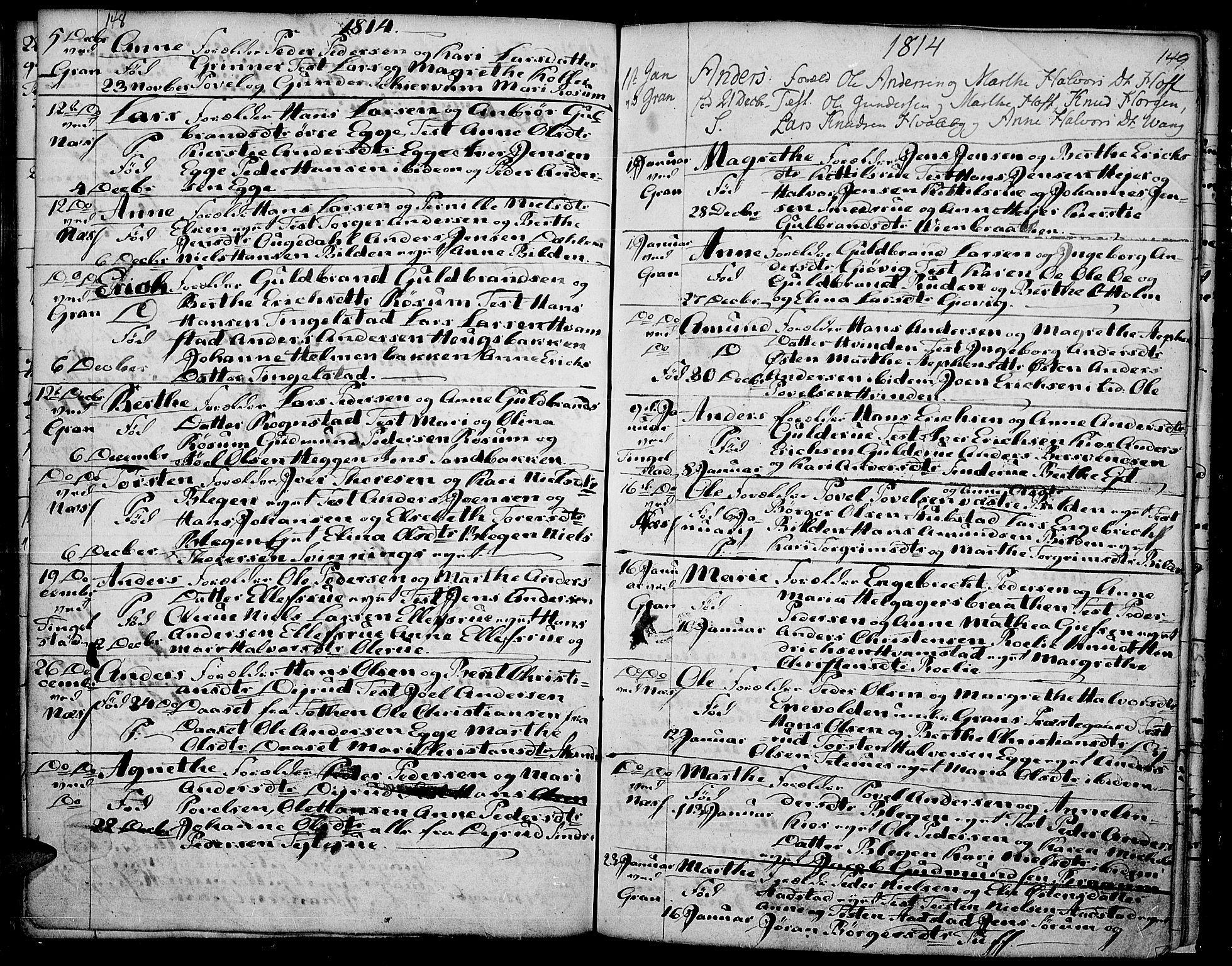 SAH, Gran prestekontor, Ministerialbok nr. 7, 1804-1815, s. 148-149