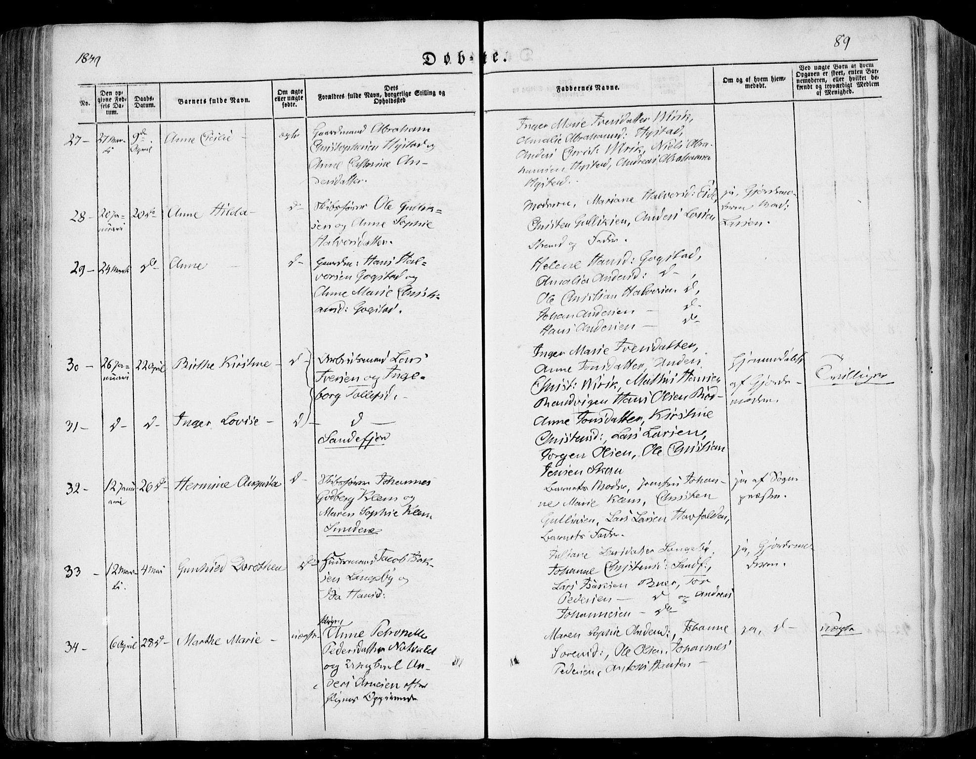 SAKO, Sandar kirkebøker, F/Fa/L0006: Ministerialbok nr. 6, 1847-1860, s. 89