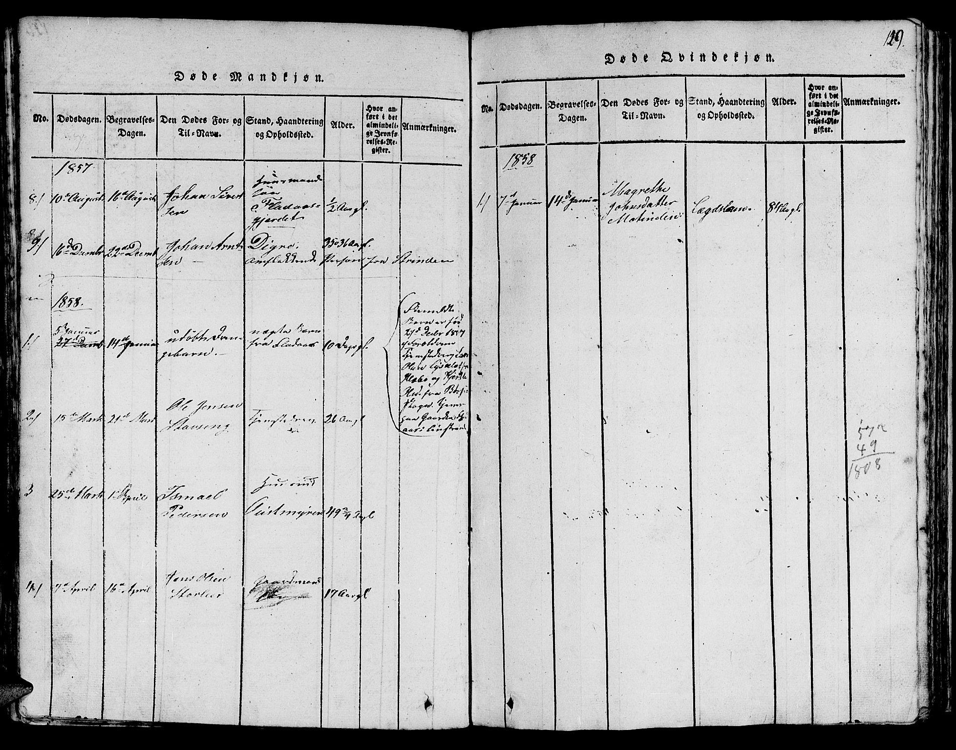 SAT, Ministerialprotokoller, klokkerbøker og fødselsregistre - Sør-Trøndelag, 613/L0393: Klokkerbok nr. 613C01, 1816-1886, s. 129