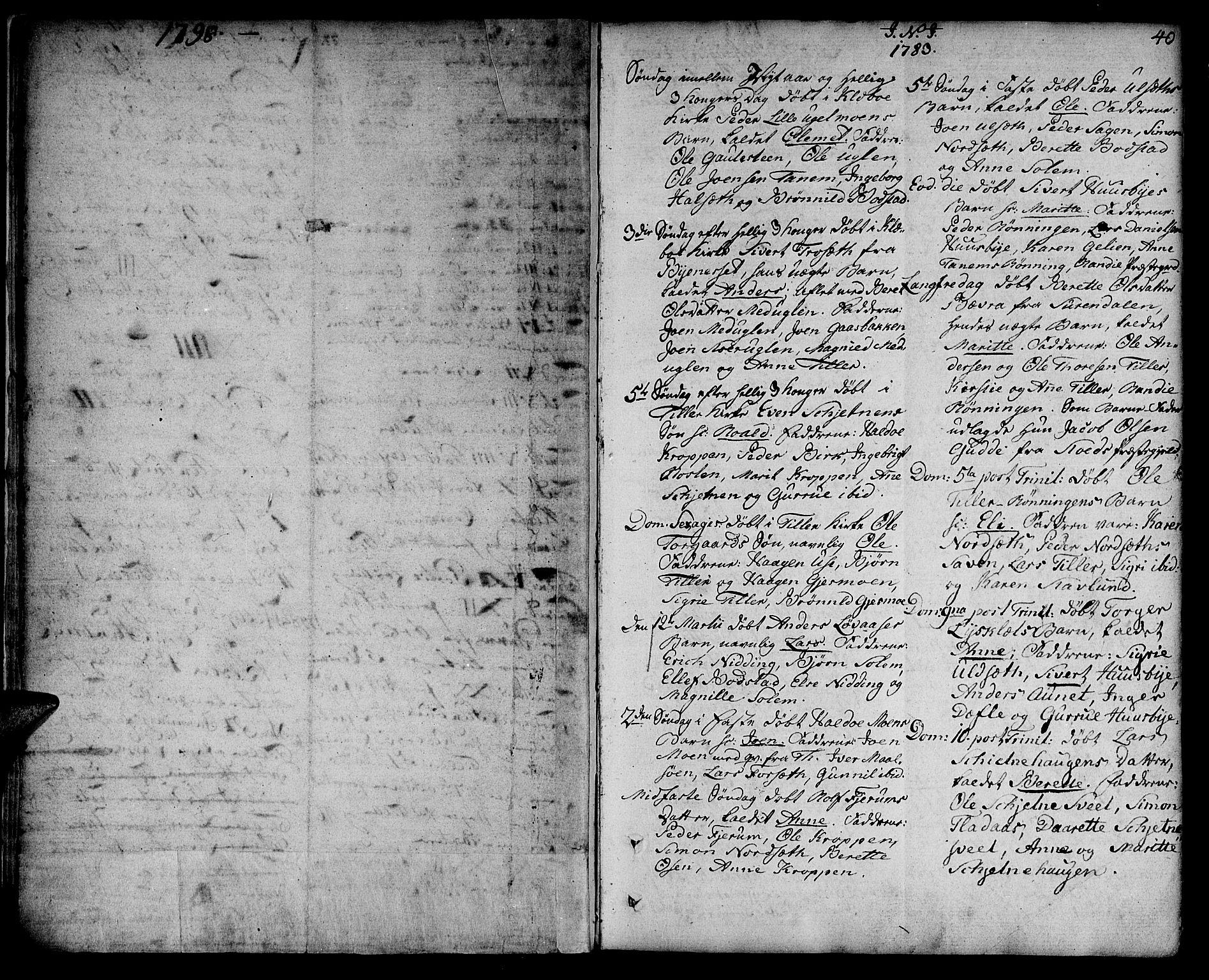 SAT, Ministerialprotokoller, klokkerbøker og fødselsregistre - Sør-Trøndelag, 618/L0438: Ministerialbok nr. 618A03, 1783-1815, s. 40