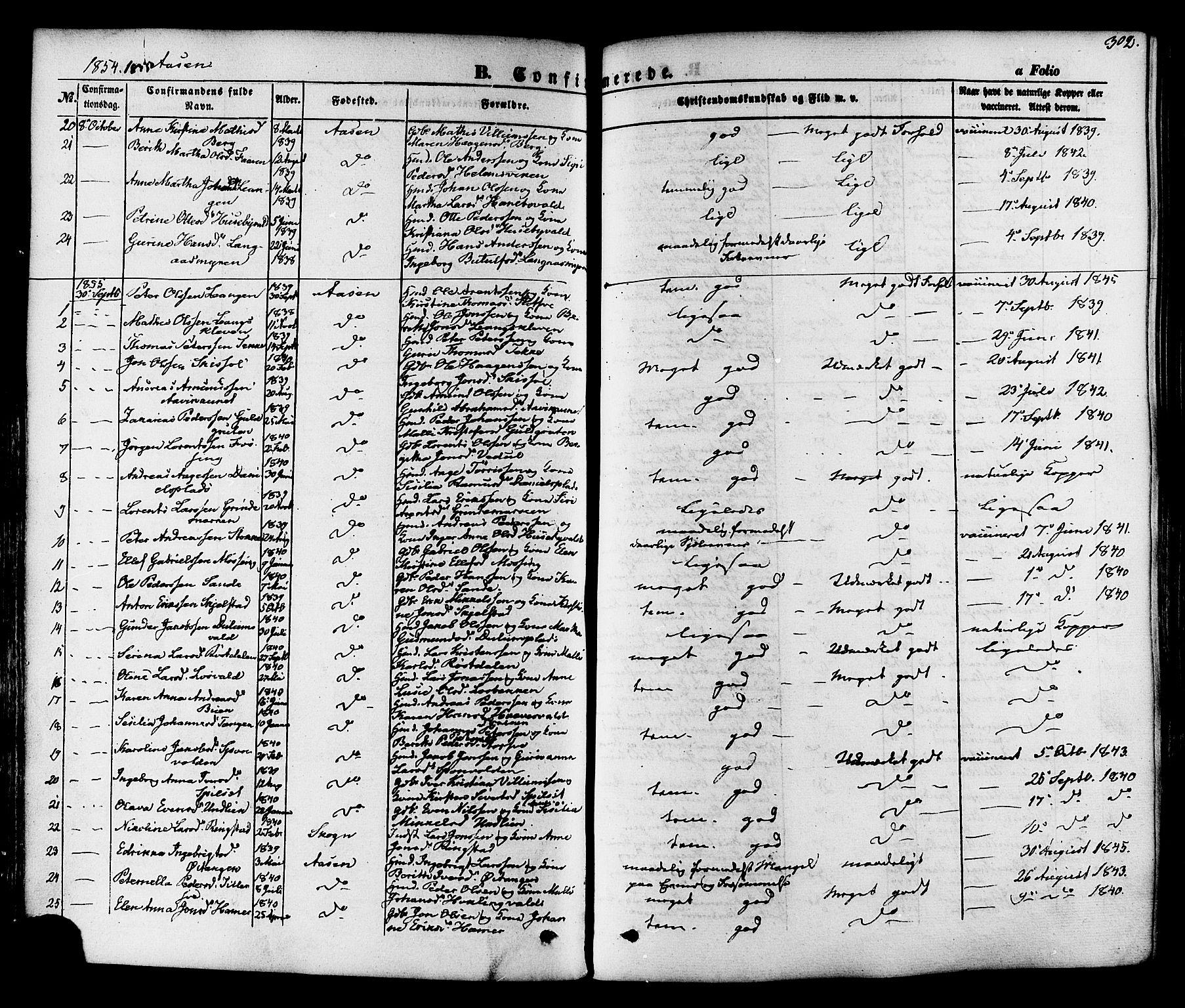 SAT, Ministerialprotokoller, klokkerbøker og fødselsregistre - Nord-Trøndelag, 713/L0116: Ministerialbok nr. 713A07, 1850-1877, s. 302