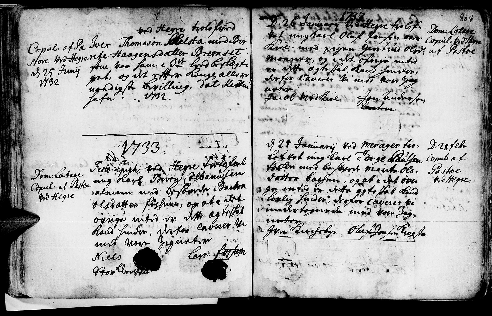 SAT, Ministerialprotokoller, klokkerbøker og fødselsregistre - Nord-Trøndelag, 709/L0055: Ministerialbok nr. 709A03, 1730-1739, s. 803-804