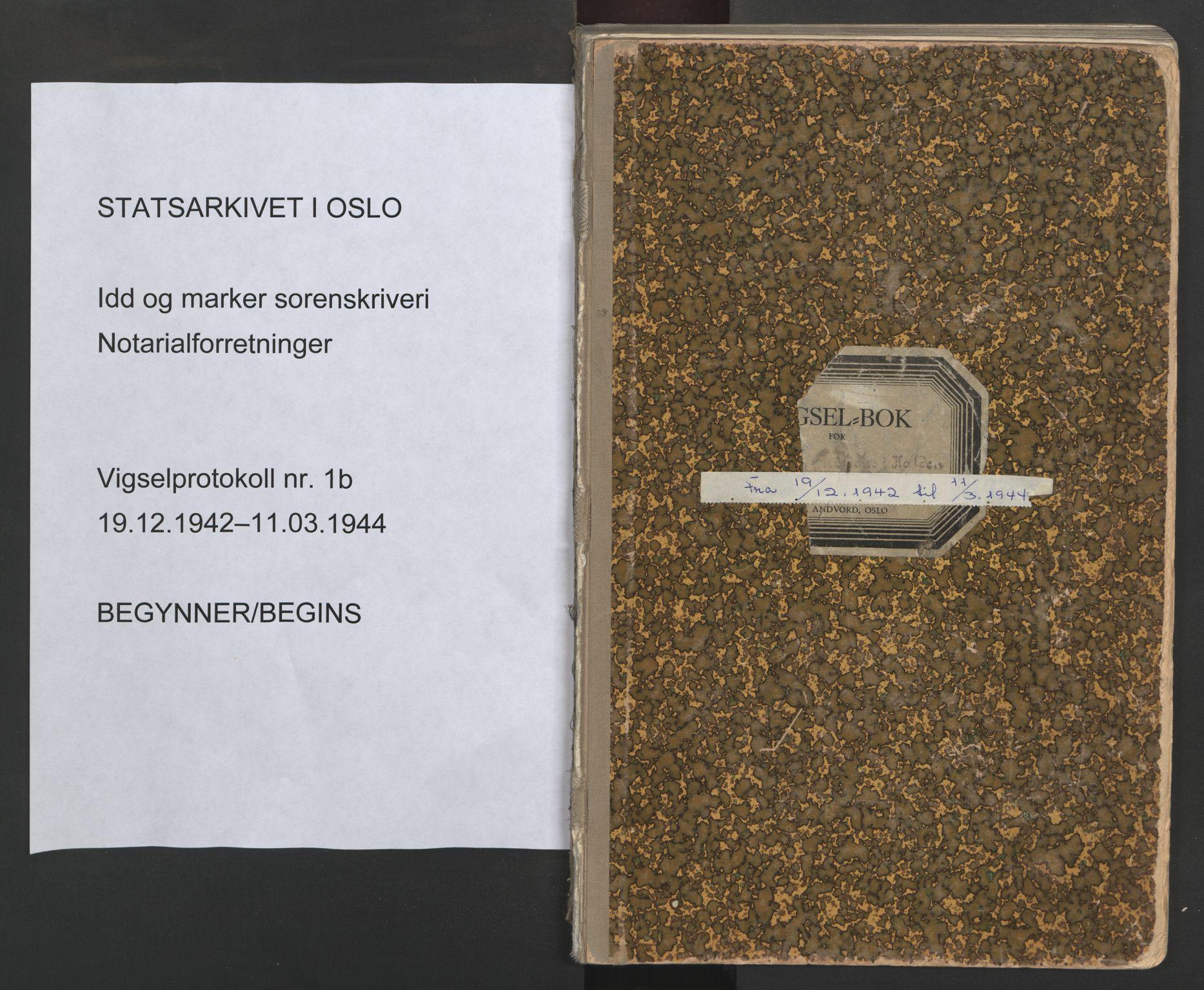 SAO, Idd og Marker sorenskriveri, L/Lc/L0001: Vigselsbøker, 1942-1944, s. upaginert