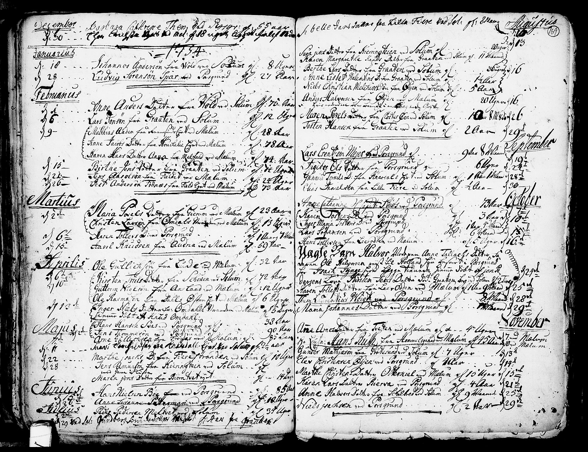 SAKO, Solum kirkebøker, F/Fa/L0002: Ministerialbok nr. I 2, 1713-1761, s. 169