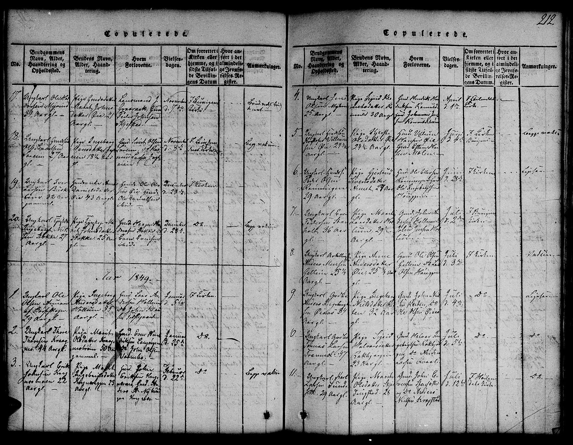 SAT, Ministerialprotokoller, klokkerbøker og fødselsregistre - Sør-Trøndelag, 691/L1092: Klokkerbok nr. 691C03, 1816-1852, s. 212