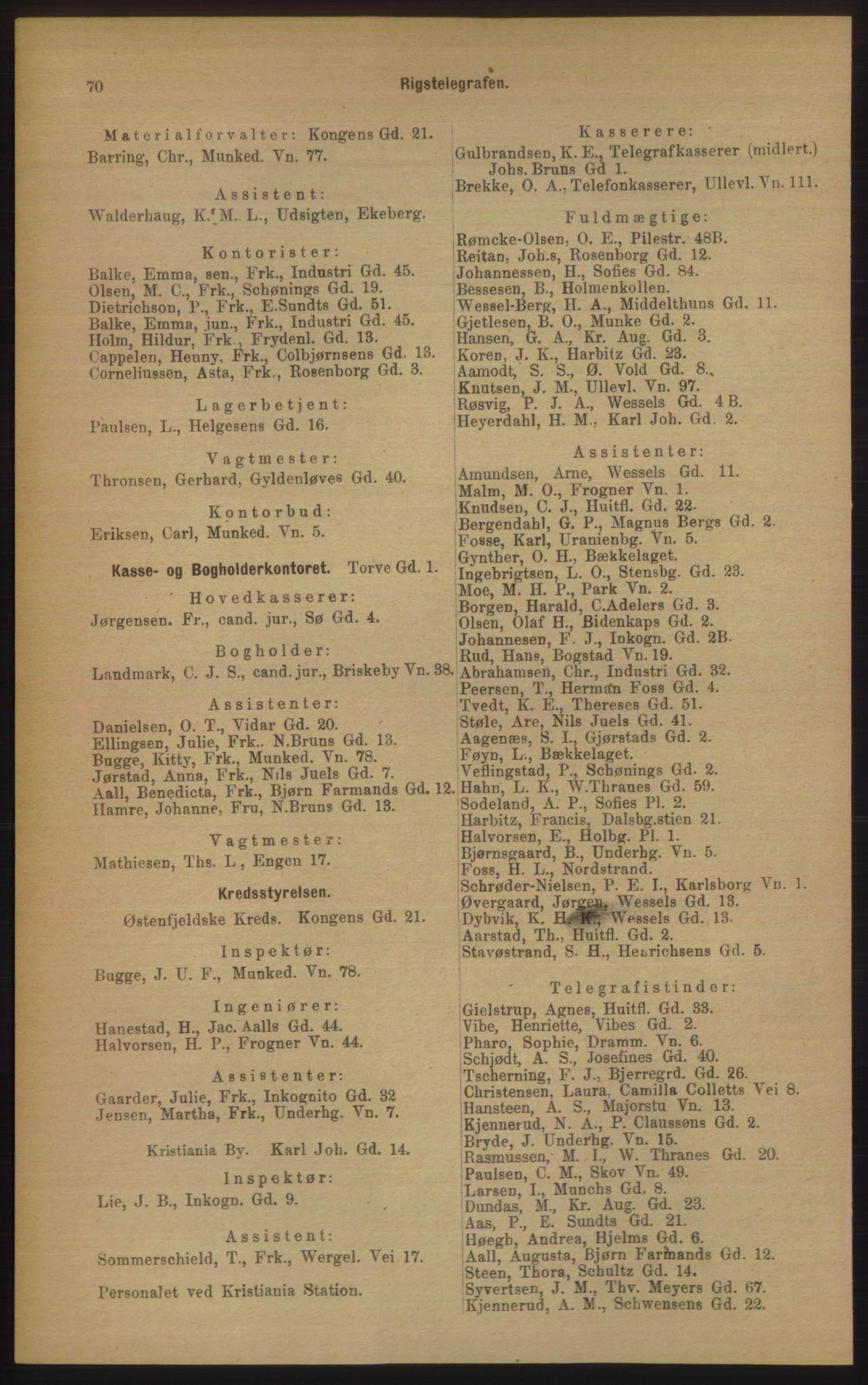 PUBL, Kristiania/Oslo adressebok, 1906, s. 70