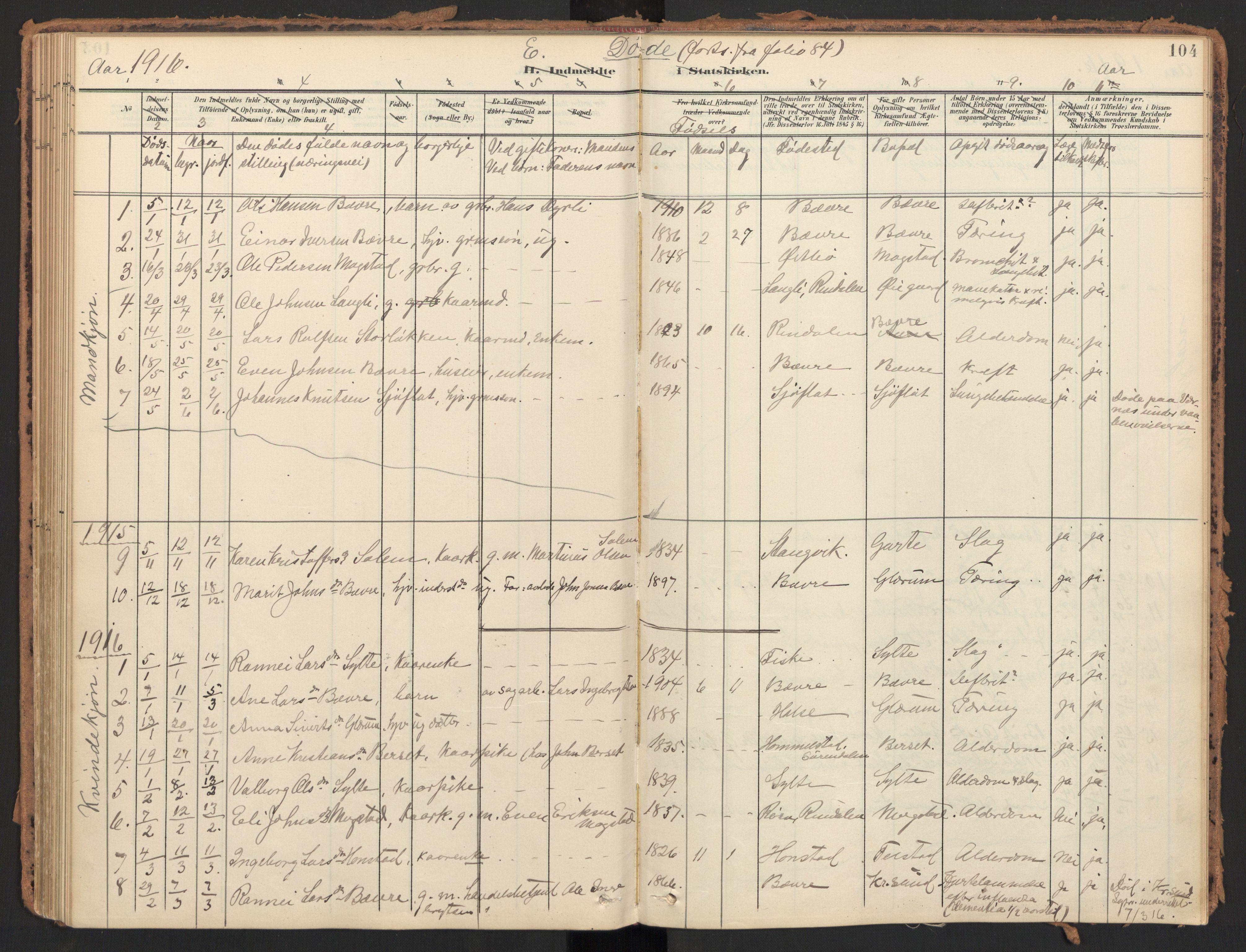 SAT, Ministerialprotokoller, klokkerbøker og fødselsregistre - Møre og Romsdal, 595/L1048: Ministerialbok nr. 595A10, 1900-1917, s. 104