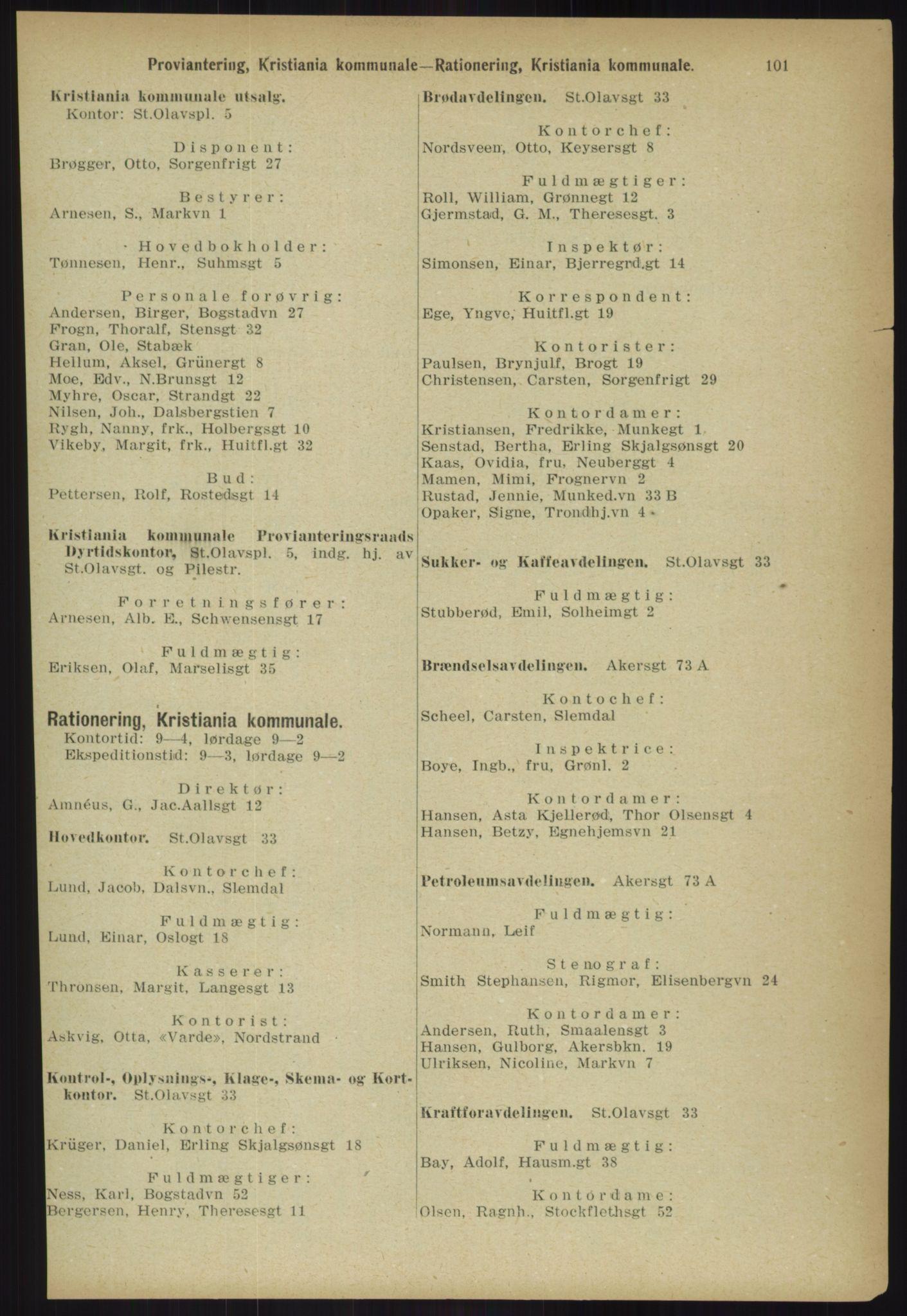 RA, Kristiania adressebok (publikasjon)*, 1918, s. 101