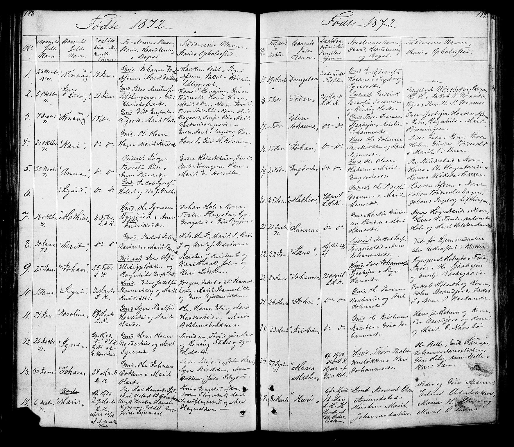 SAH, Lesja prestekontor, Klokkerbok nr. 5, 1850-1894, s. 118-119