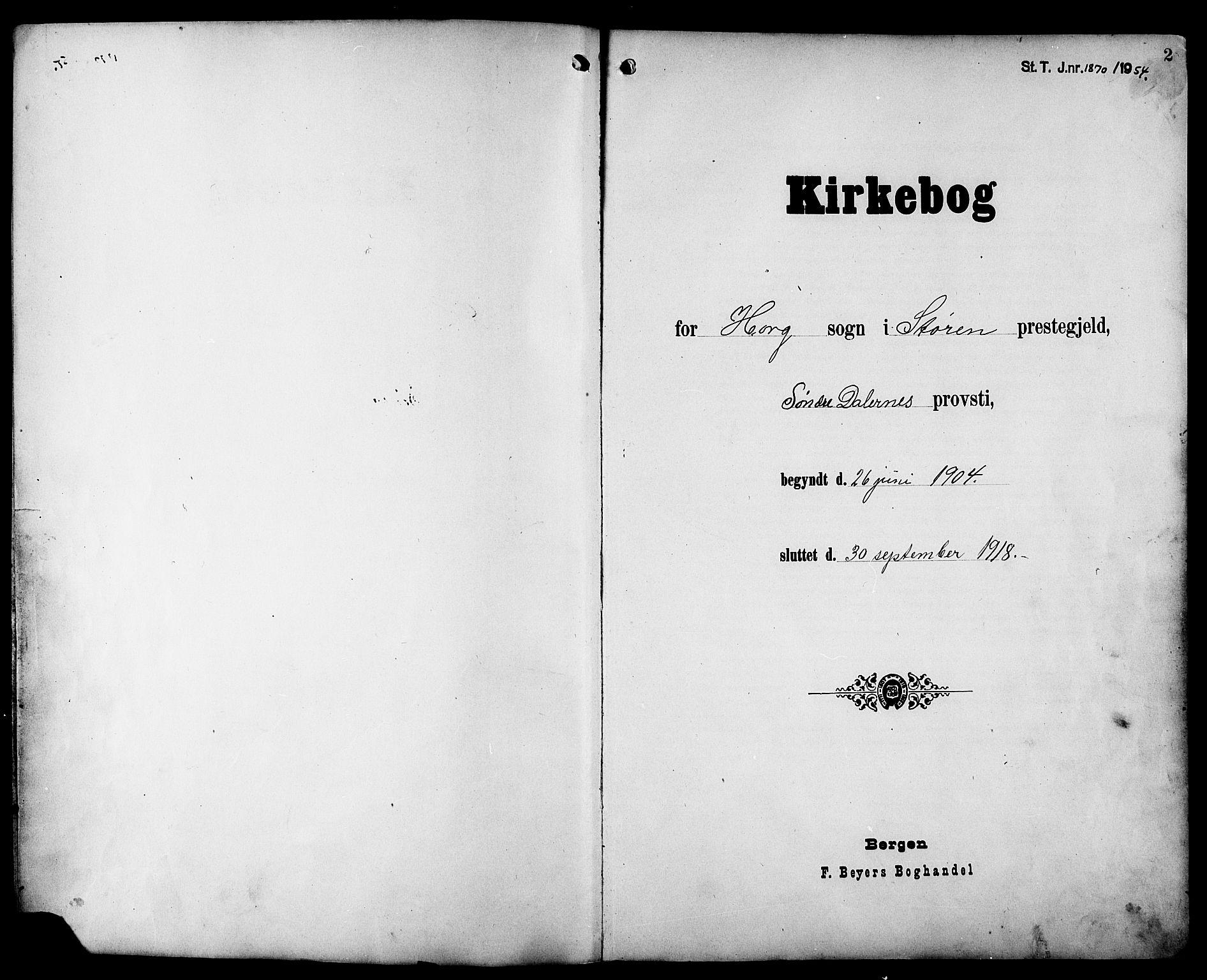 SAT, Ministerialprotokoller, klokkerbøker og fødselsregistre - Sør-Trøndelag, 692/L1112: Klokkerbok nr. 692C07, 1904-1918, s. 2