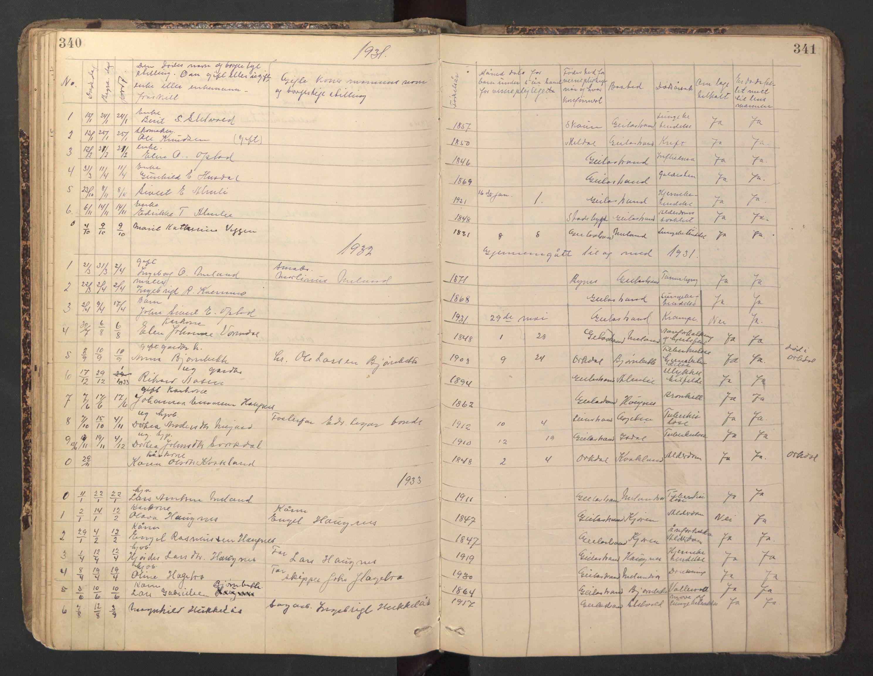 SAT, Ministerialprotokoller, klokkerbøker og fødselsregistre - Sør-Trøndelag, 670/L0837: Klokkerbok nr. 670C01, 1905-1946, s. 340-341