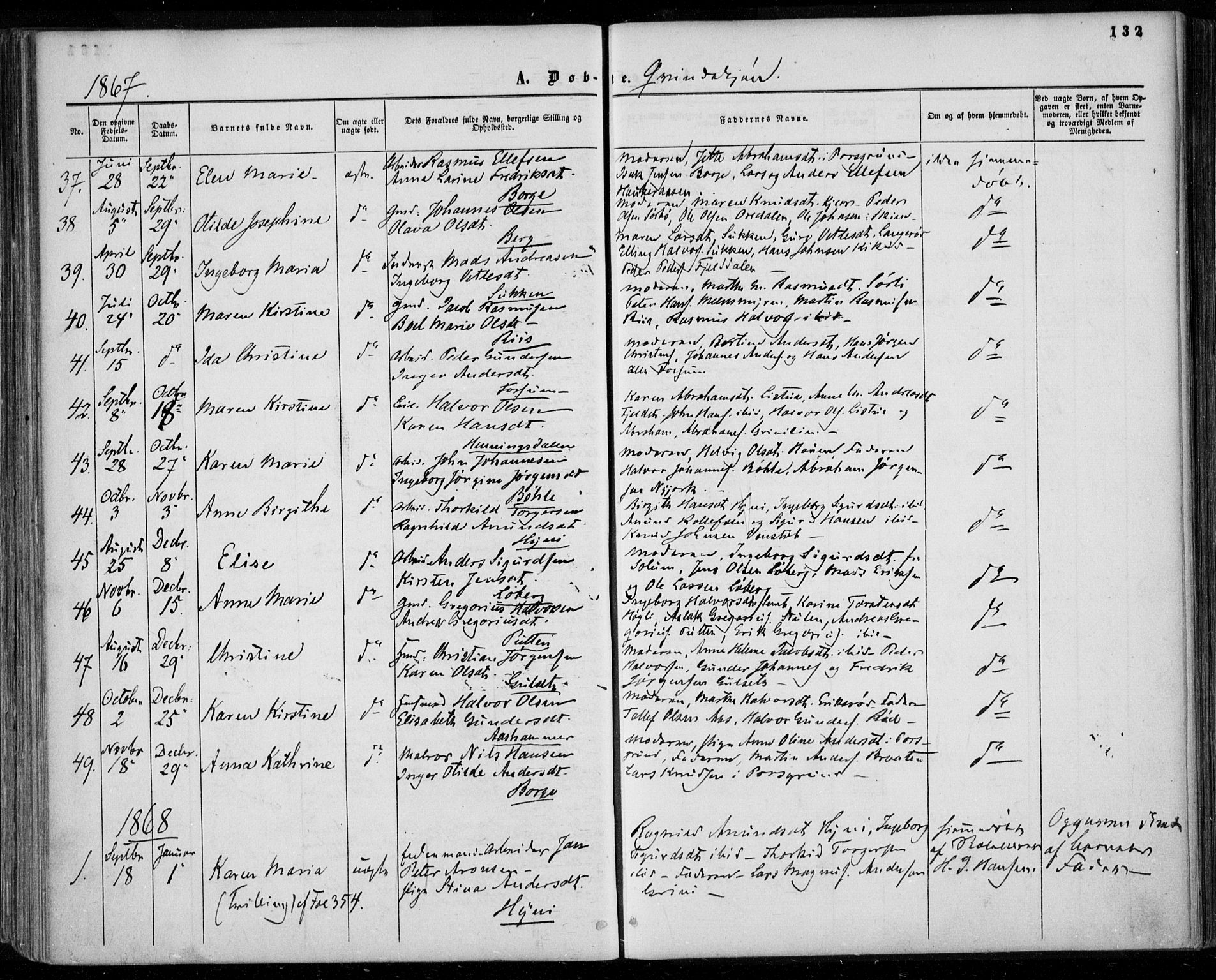SAKO, Gjerpen kirkebøker, F/Fa/L0008a: Ministerialbok nr. 8A, 1857-1871, s. 132