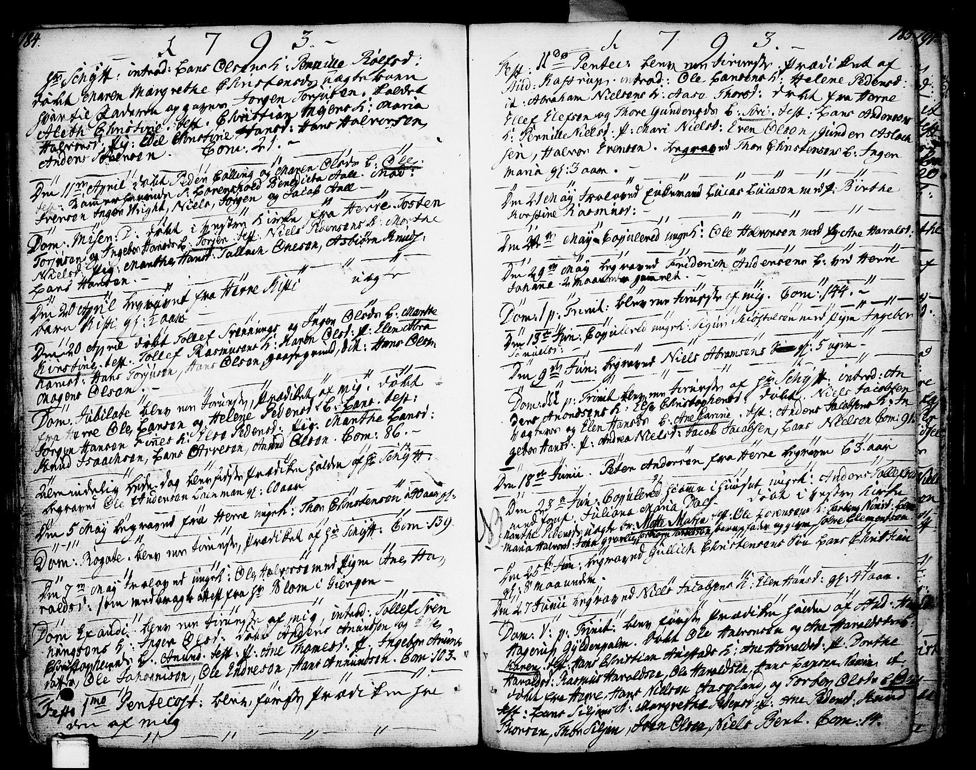 SAKO, Porsgrunn kirkebøker , F/Fa/L0002: Ministerialbok nr. 2, 1764-1814, s. 184-185