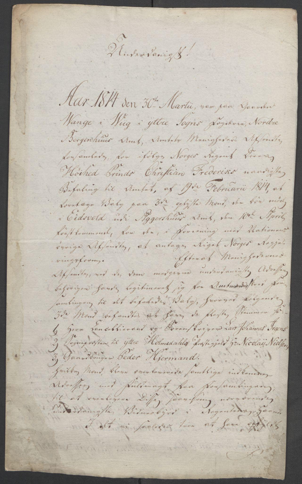 RA, Statsrådssekretariatet, D/Db/L0008: Fullmakter for Eidsvollsrepresentantene i 1814. , 1814, s. 308