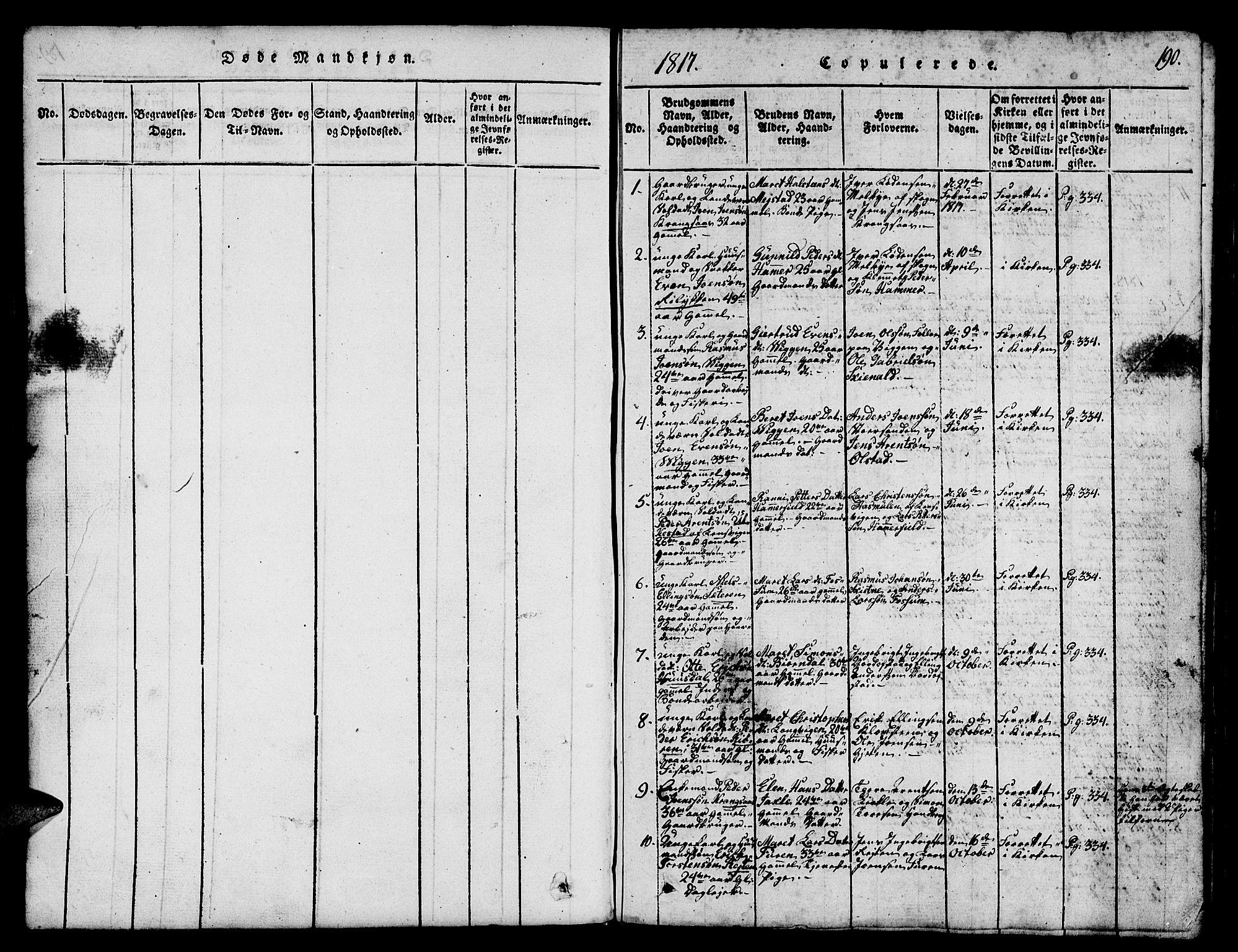SAT, Ministerialprotokoller, klokkerbøker og fødselsregistre - Sør-Trøndelag, 665/L0776: Klokkerbok nr. 665C01, 1817-1837, s. 190