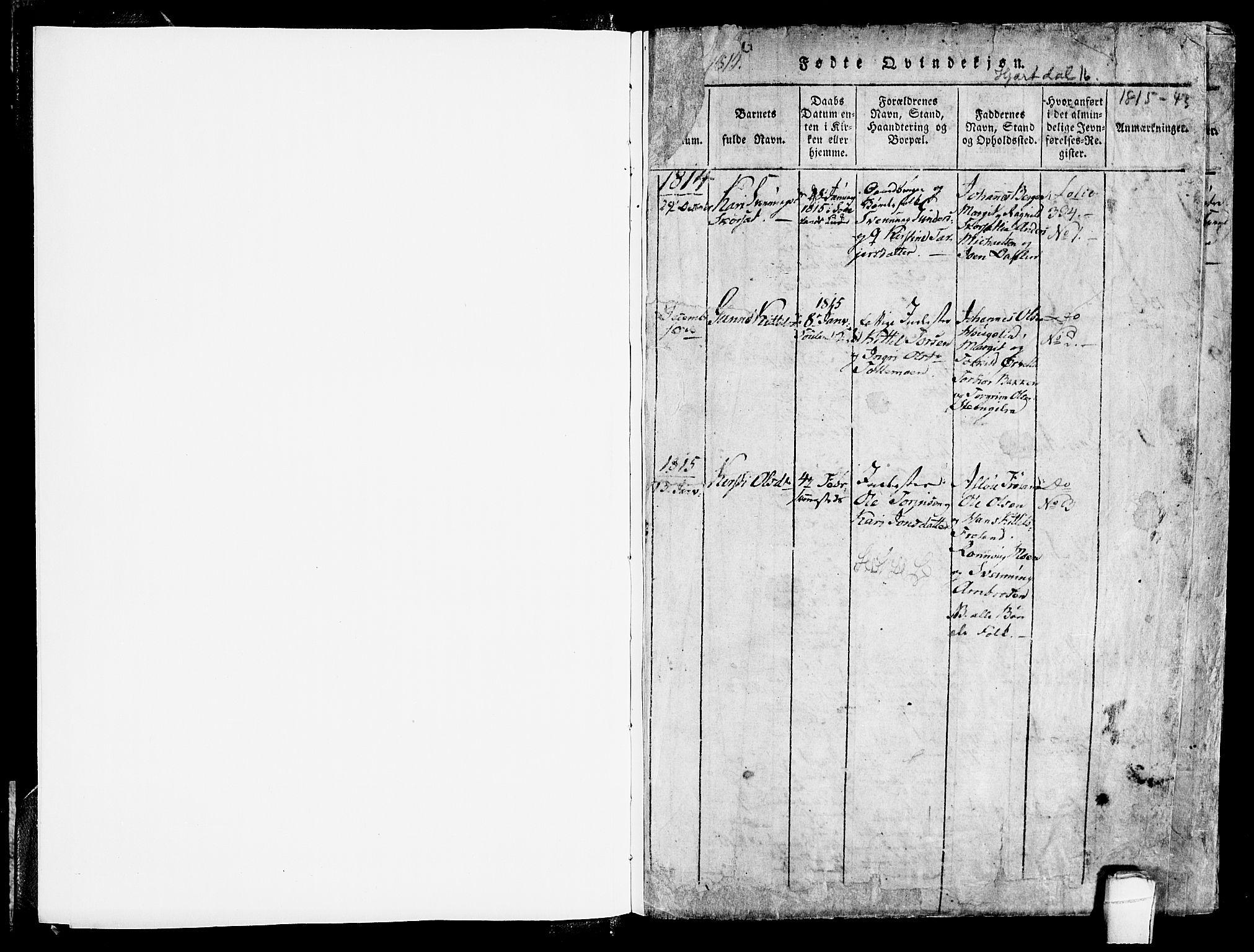 SAKO, Hjartdal kirkebøker, F/Fb/L0001: Ministerialbok nr. II 1, 1815-1843, s. 1