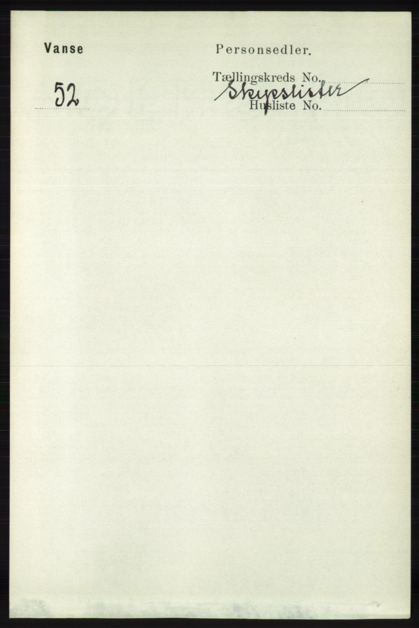 RA, Folketelling 1891 for 1041 Vanse herred, 1891, s. 7791