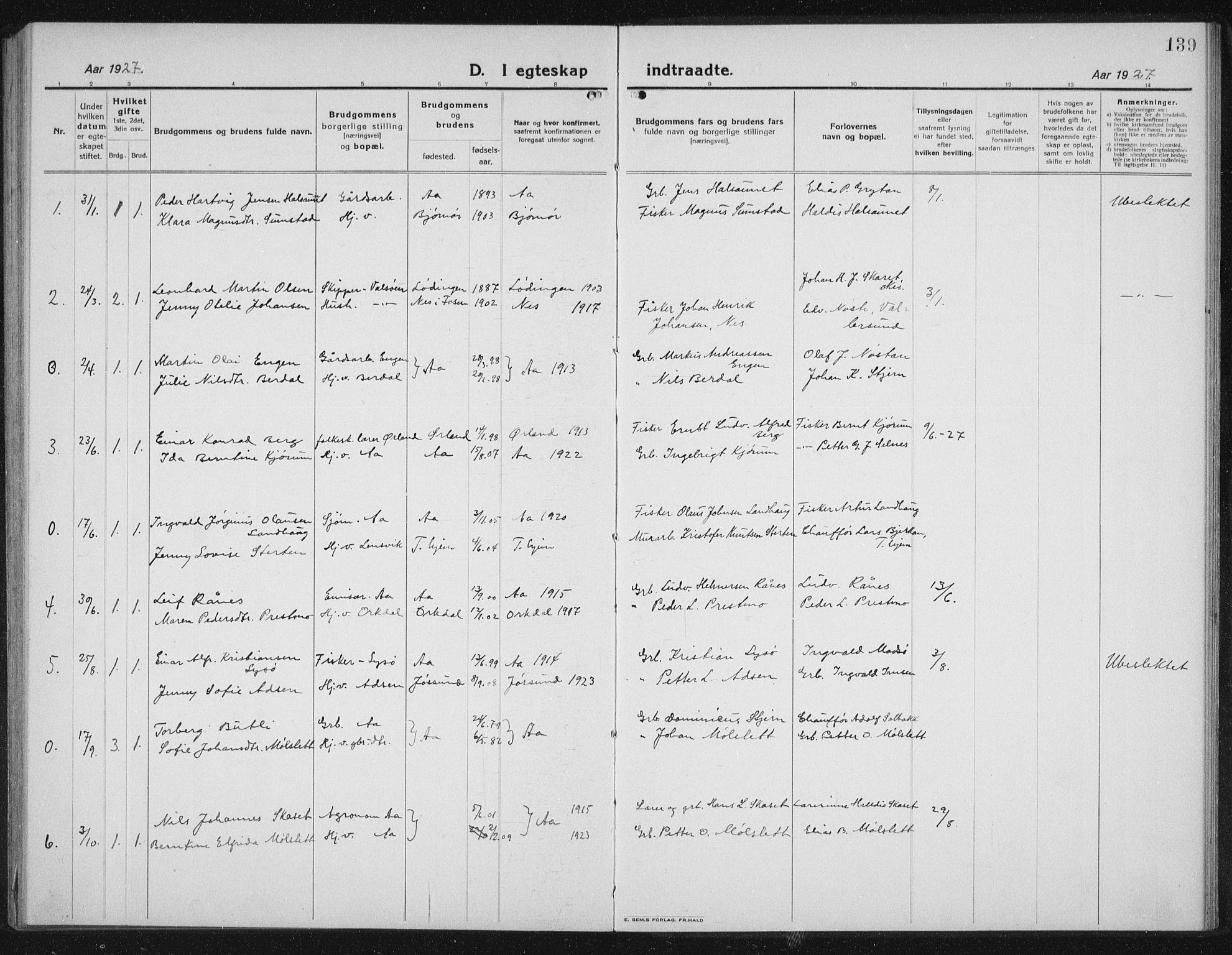 SAT, Ministerialprotokoller, klokkerbøker og fødselsregistre - Sør-Trøndelag, 655/L0689: Klokkerbok nr. 655C05, 1922-1936, s. 139
