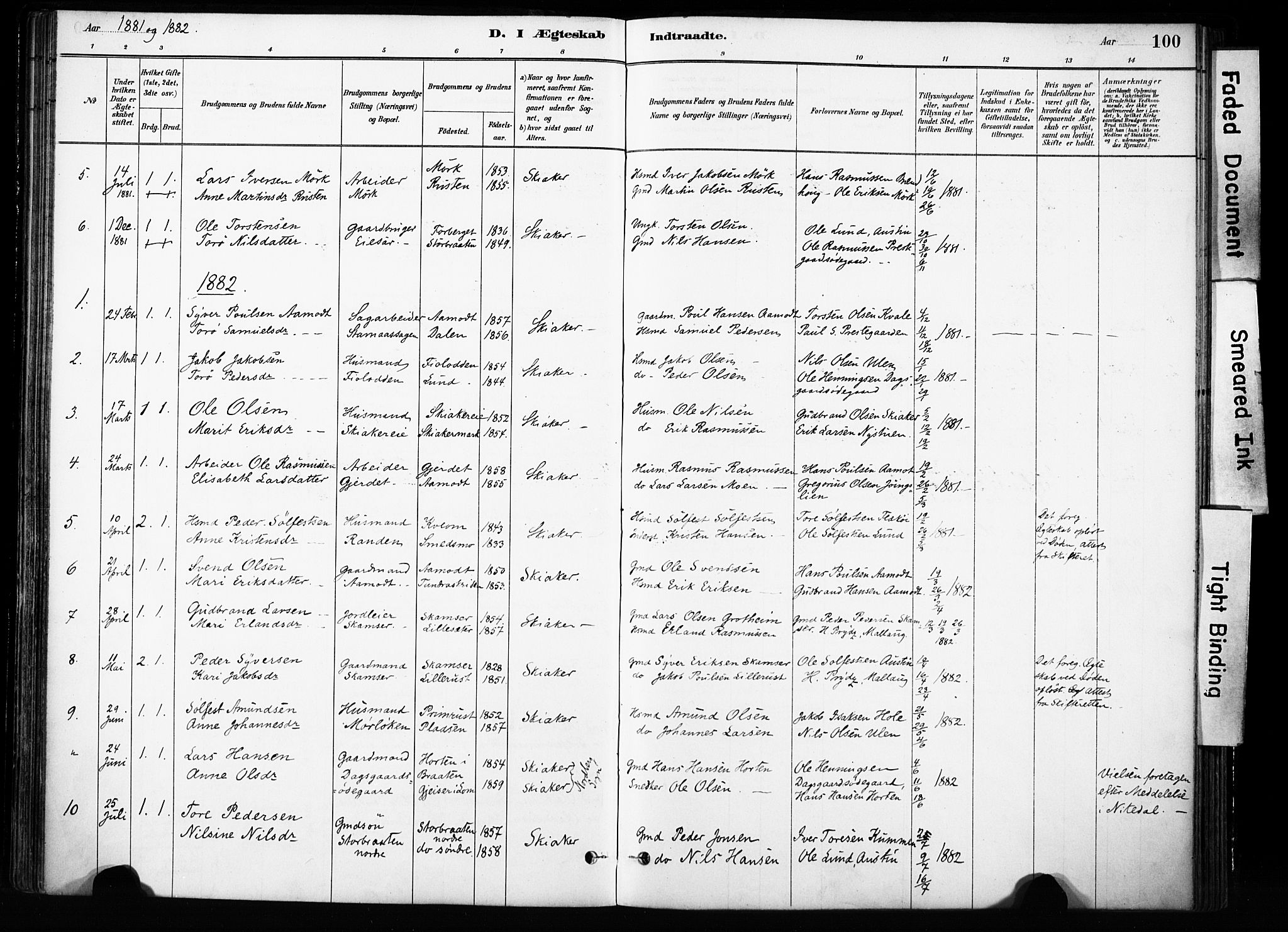 SAH, Skjåk prestekontor, Ministerialbok nr. 4, 1880-1904, s. 100