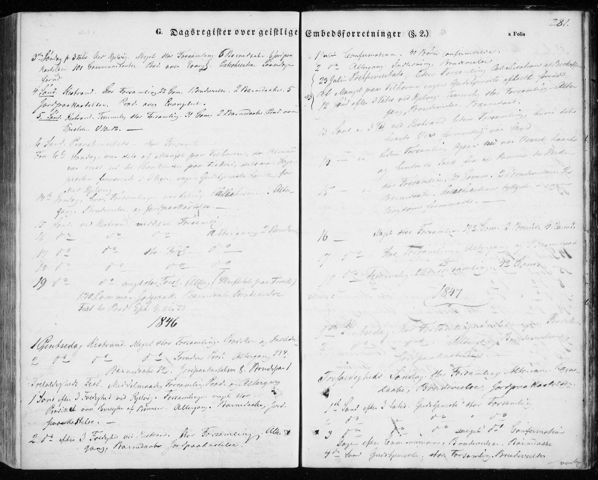 SATØ, Kistrand/Porsanger sokneprestembete, H/Ha/L0004.kirke: Ministerialbok nr. 4, 1843-1860, s. 281