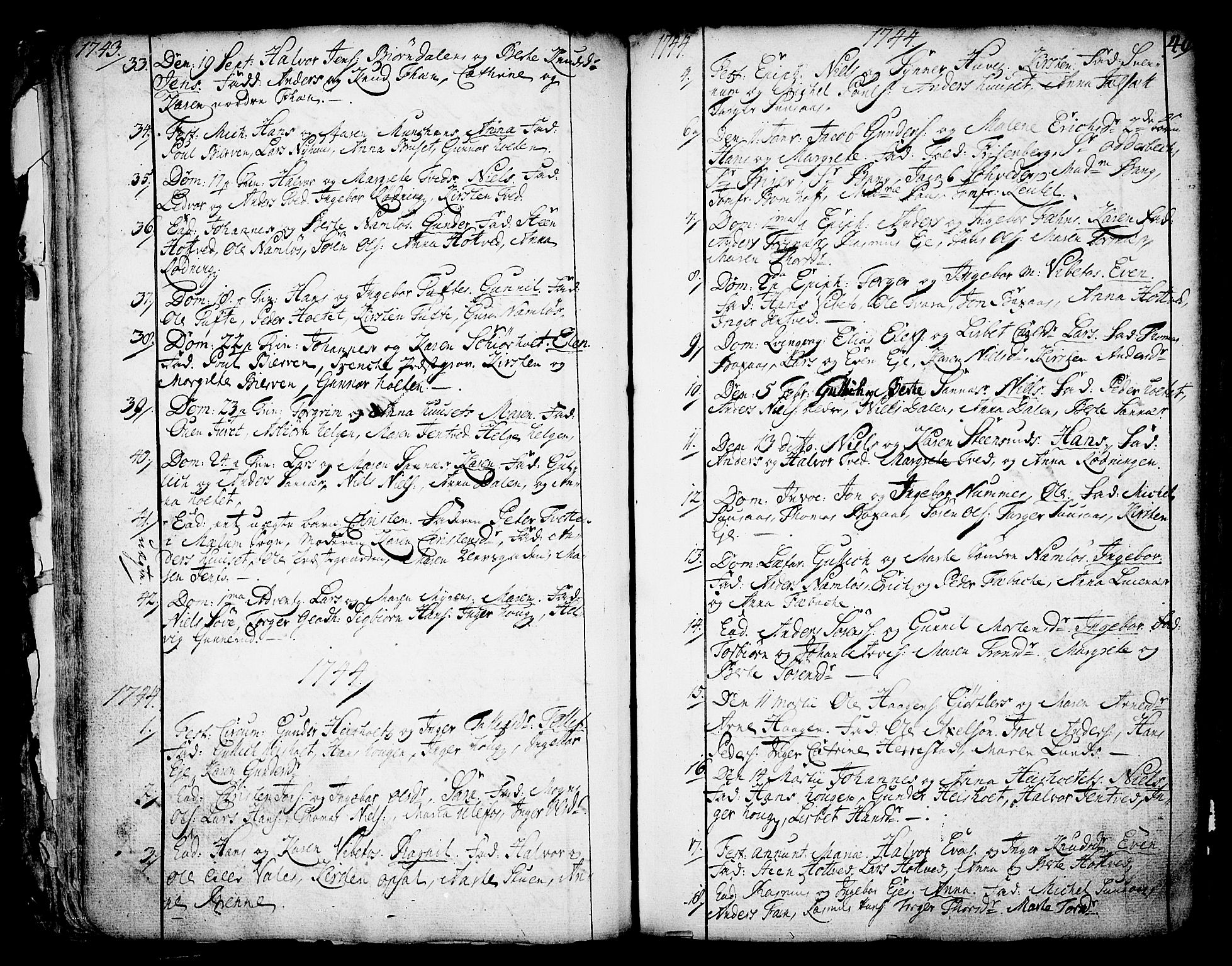 SAKO, Holla kirkebøker, F/Fa/L0001: Ministerialbok nr. 1, 1717-1779, s. 40