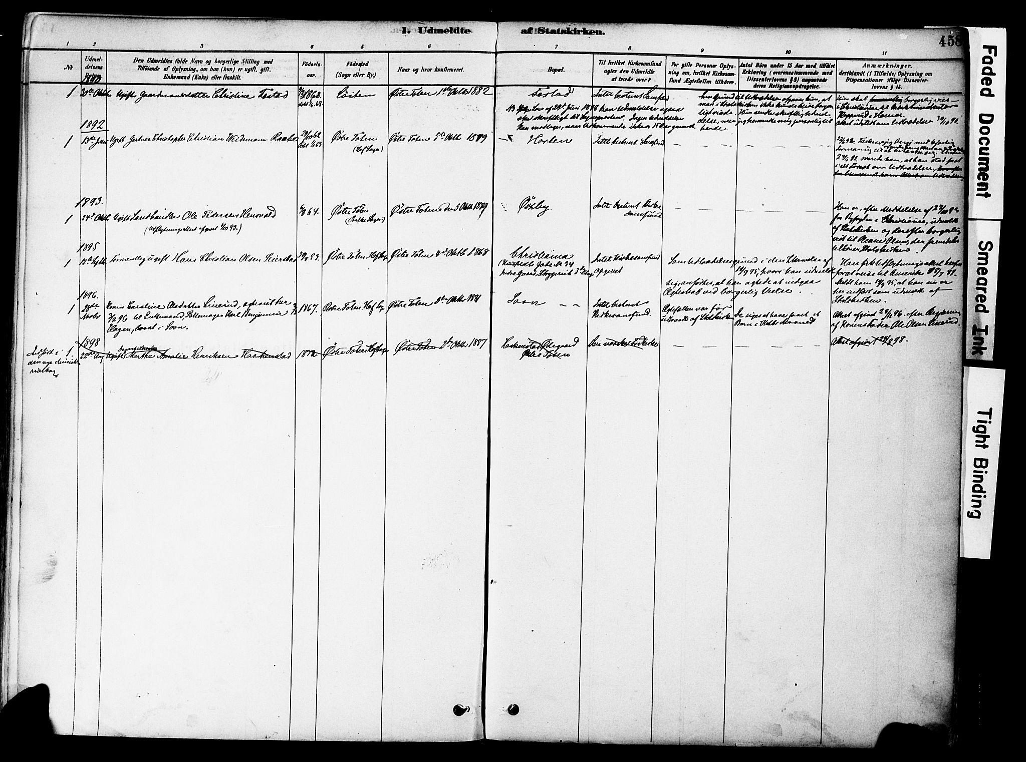 SAH, Østre Toten prestekontor, Ministerialbok nr. 6 /1, 1878-1896, s. 458