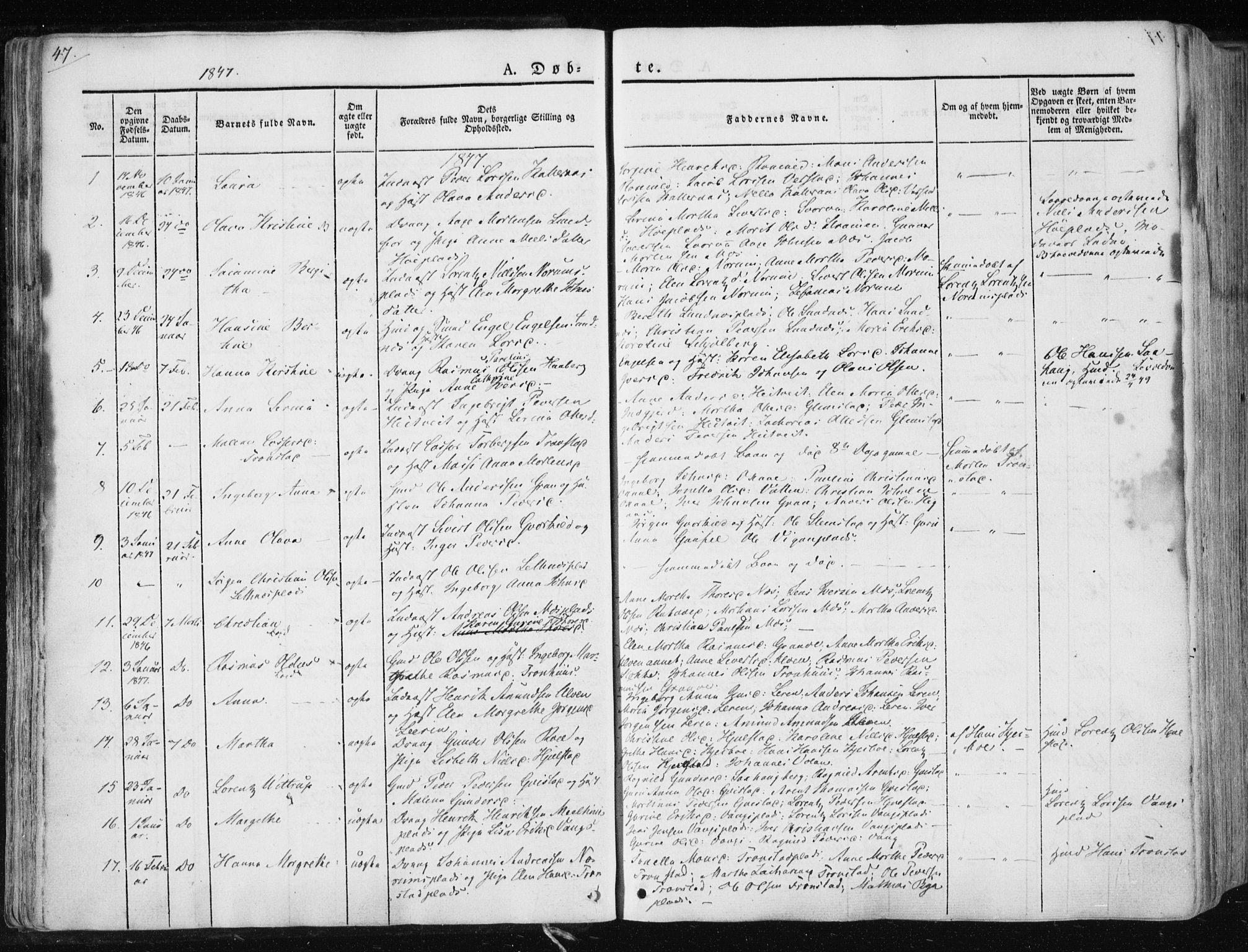 SAT, Ministerialprotokoller, klokkerbøker og fødselsregistre - Nord-Trøndelag, 730/L0280: Ministerialbok nr. 730A07 /1, 1840-1854, s. 47