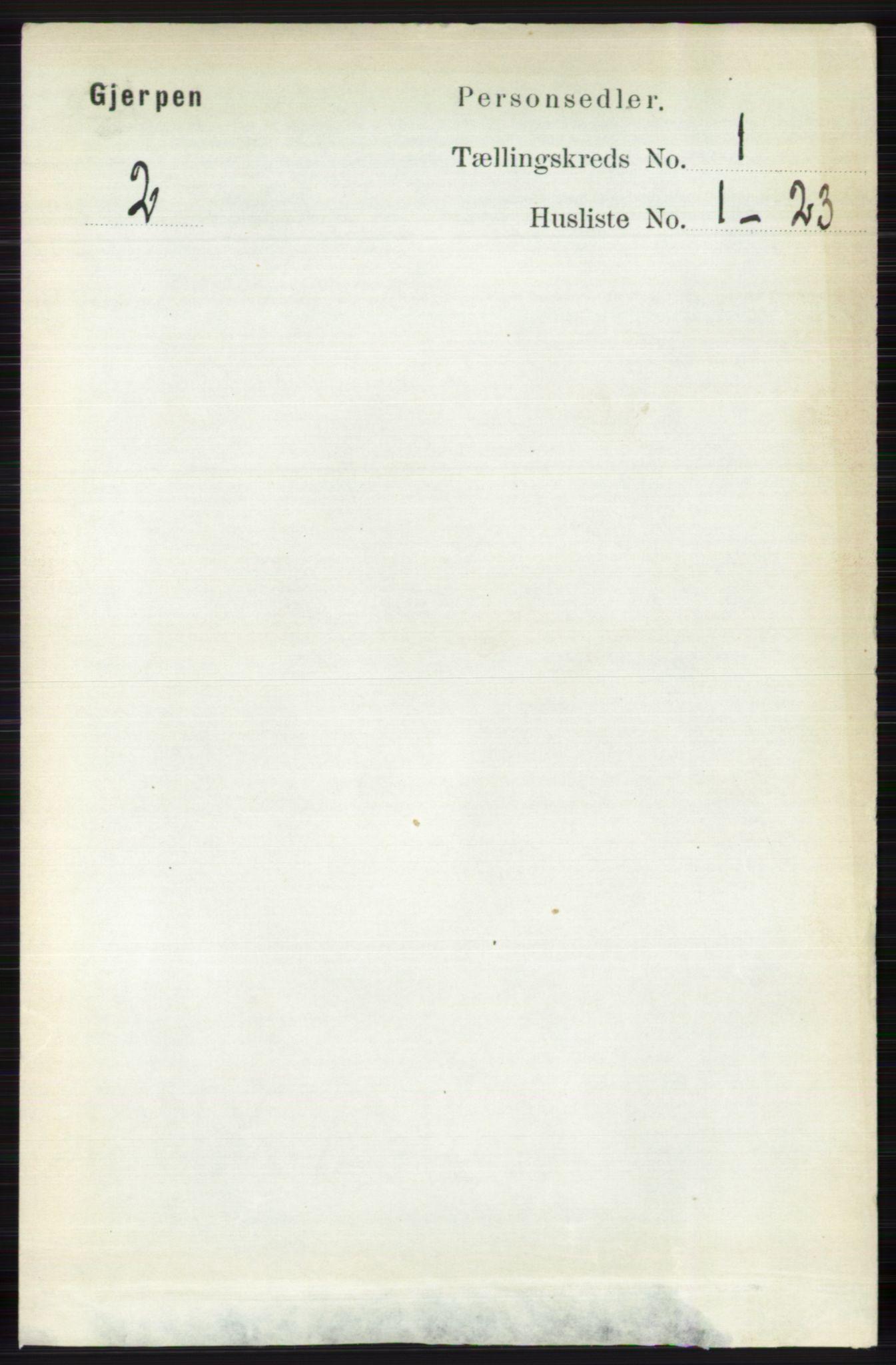 RA, Folketelling 1891 for 0812 Gjerpen herred, 1891, s. 105