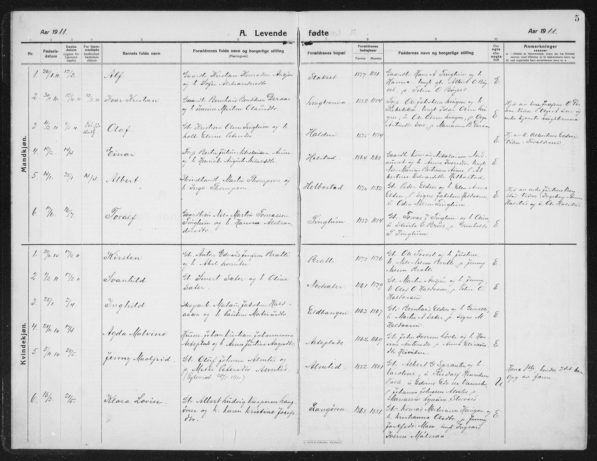 SAT, Ministerialprotokoller, klokkerbøker og fødselsregistre - Nord-Trøndelag, 742/L0413: Klokkerbok nr. 742C04, 1911-1938, s. 5