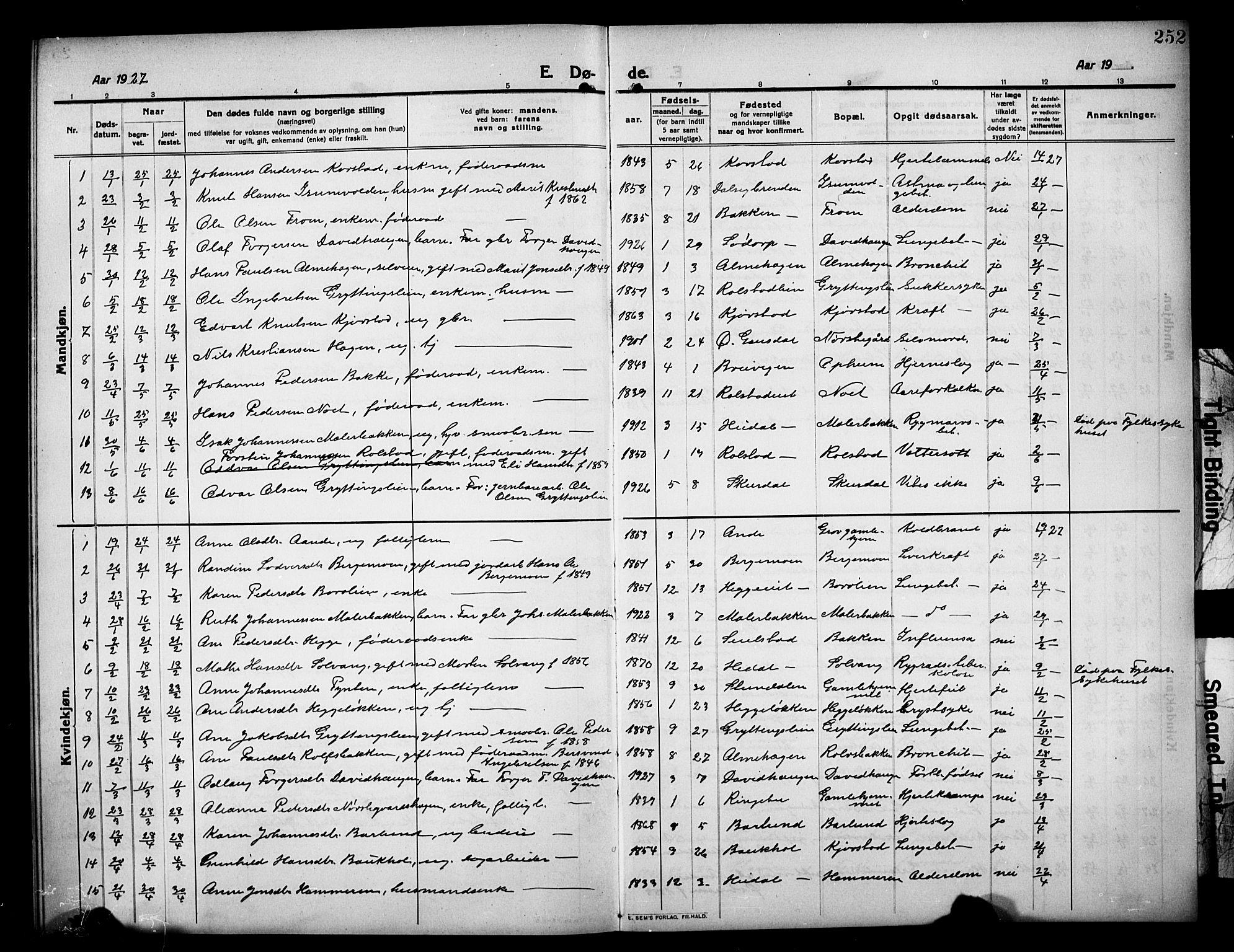 SAH, Sør-Fron prestekontor, H/Ha/Hab/L0005: Klokkerbok nr. 5, 1912-1930, s. 252