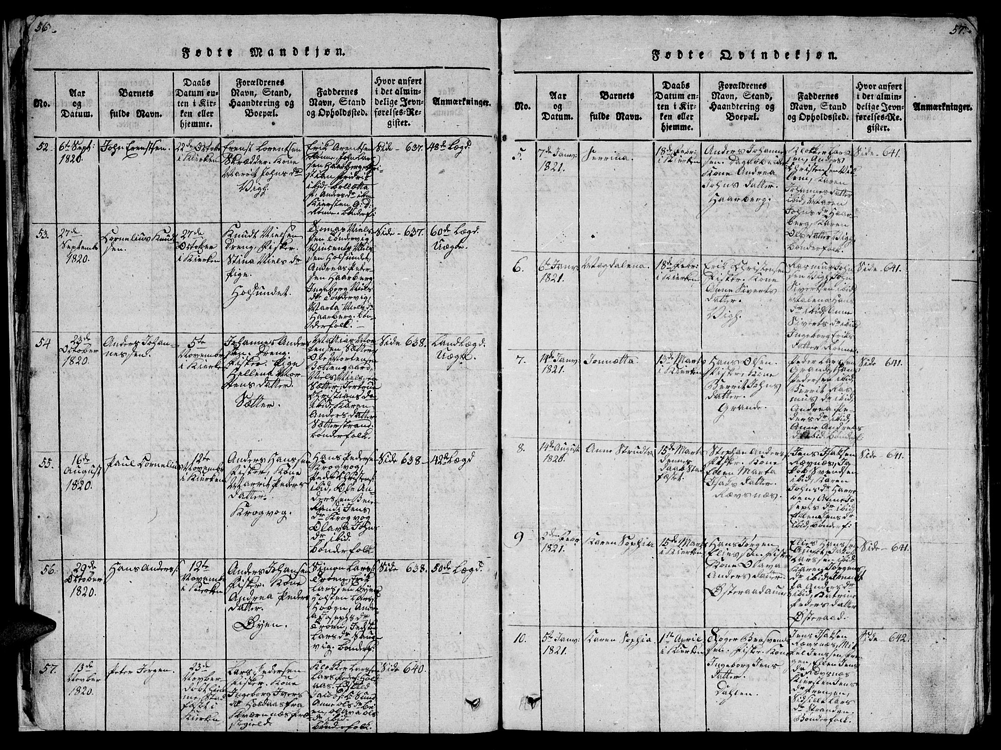 SAT, Ministerialprotokoller, klokkerbøker og fødselsregistre - Sør-Trøndelag, 659/L0744: Klokkerbok nr. 659C01, 1818-1825, s. 56-57