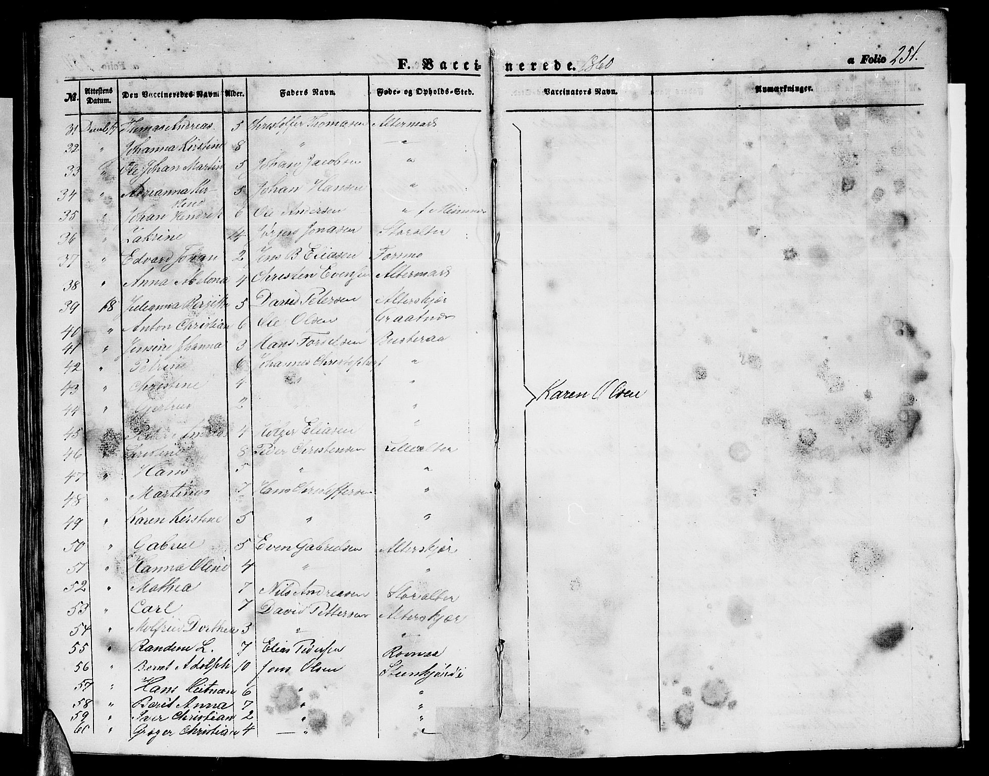 SAT, Ministerialprotokoller, klokkerbøker og fødselsregistre - Nordland, 827/L0414: Klokkerbok nr. 827C03, 1853-1865, s. 251