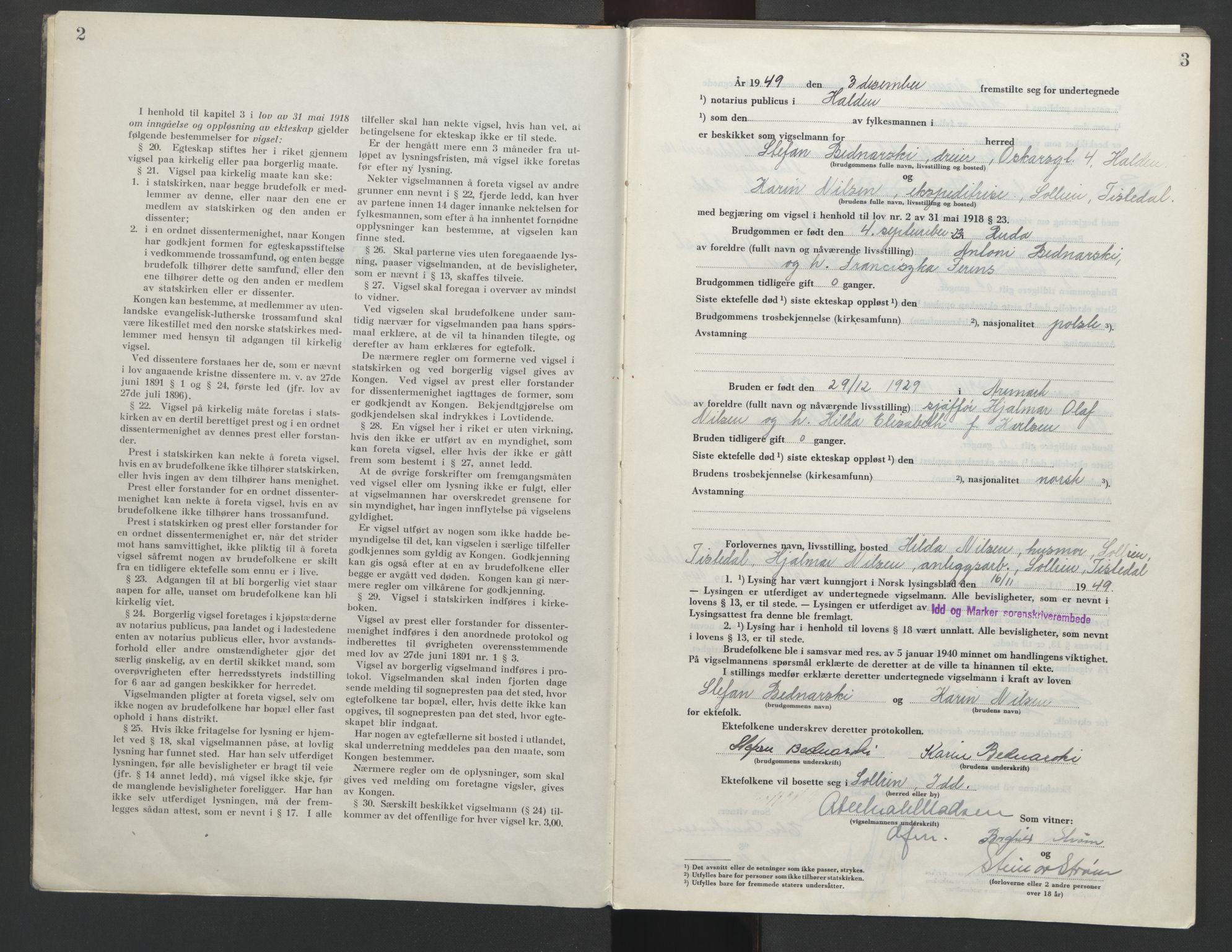 SAO, Idd og Marker sorenskriveri, L/Lc/L0002: Vigselsbok, 1949-1954, s. 2-3
