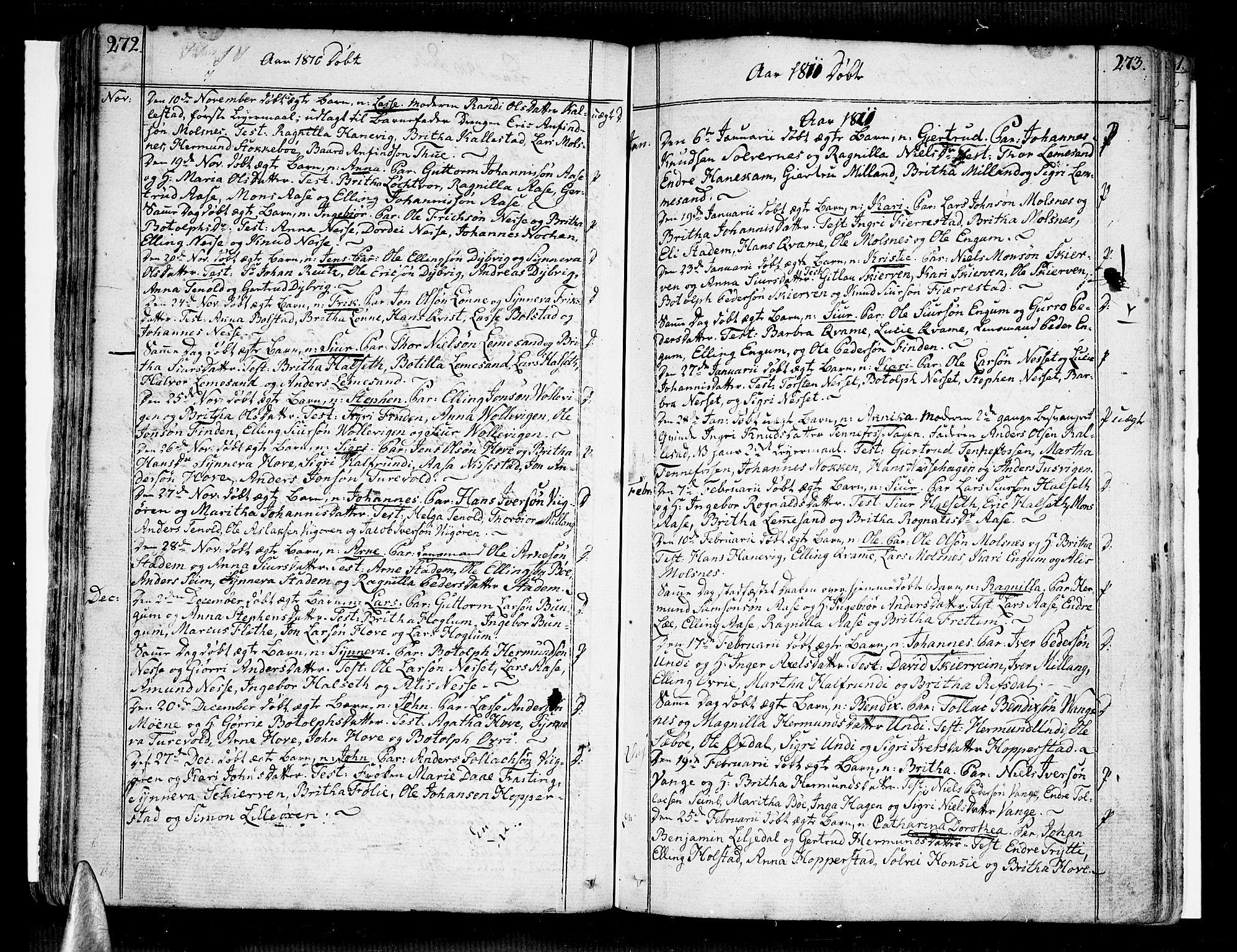 SAB, Vik Sokneprestembete, Ministerialbok nr. A 5, 1787-1820, s. 272-273
