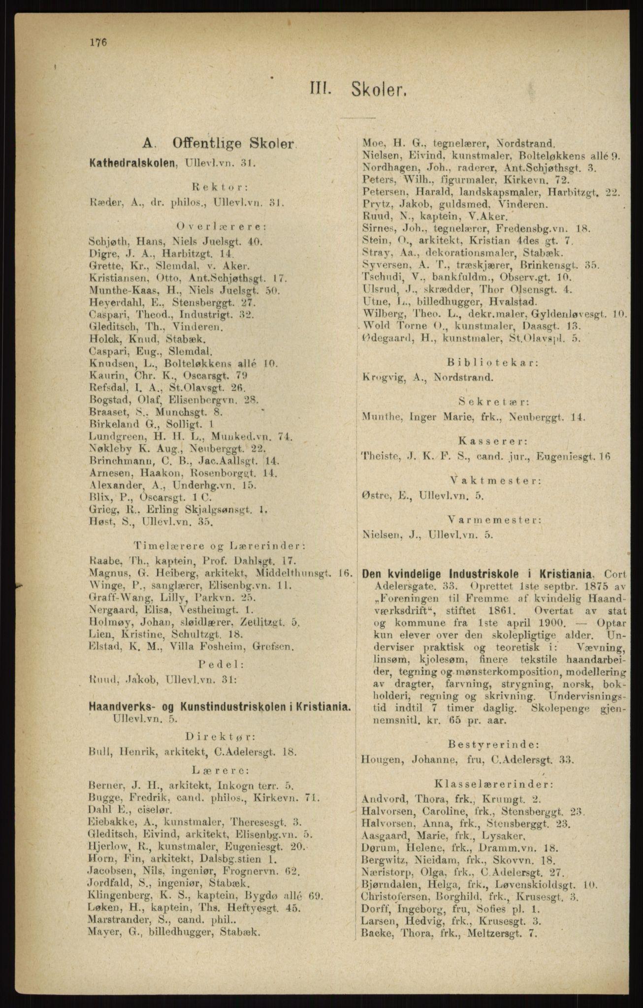 RA, Kristiania adressebok (publikasjon)*, 1916, s. 176