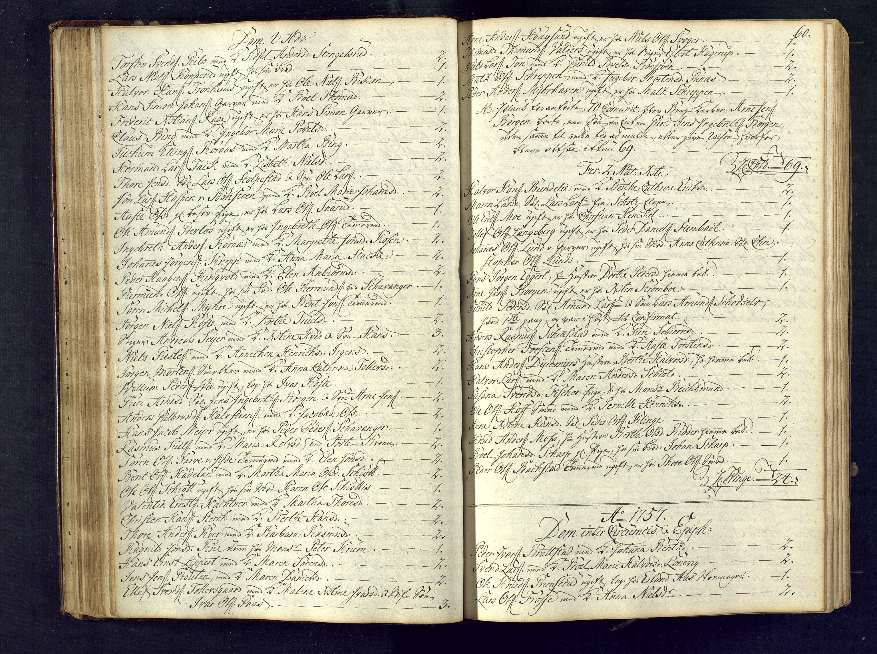 SAKO, Kongsberg kirkebøker, M/Ma/L0005: Kommunikantprotokoll nr. 5, 1755-1761, s. 60