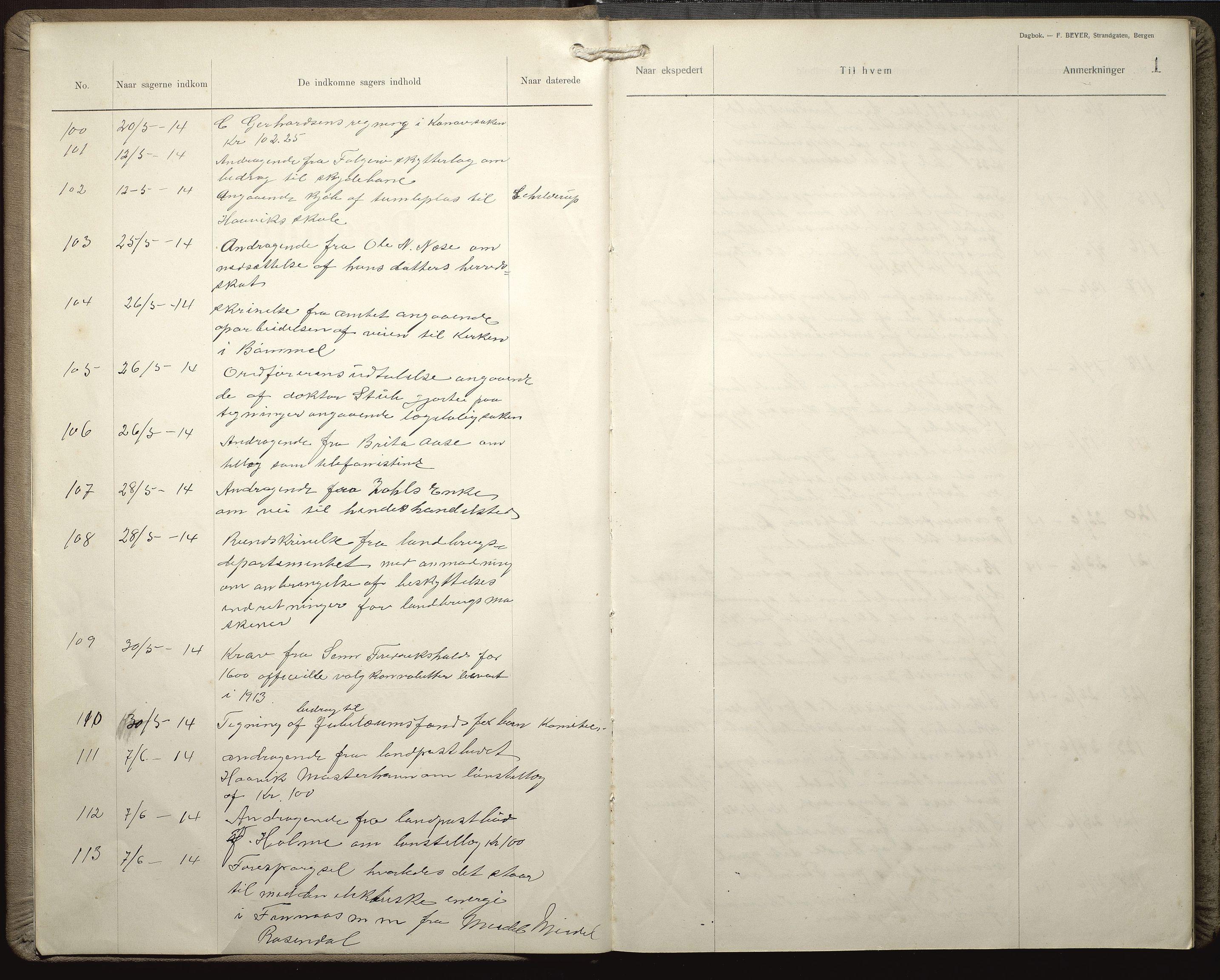 IKAH, Finnaas kommune. Formannskapet, C/Ca/L0004: Postjournal for formannskapet, 1914-1916, s. 3