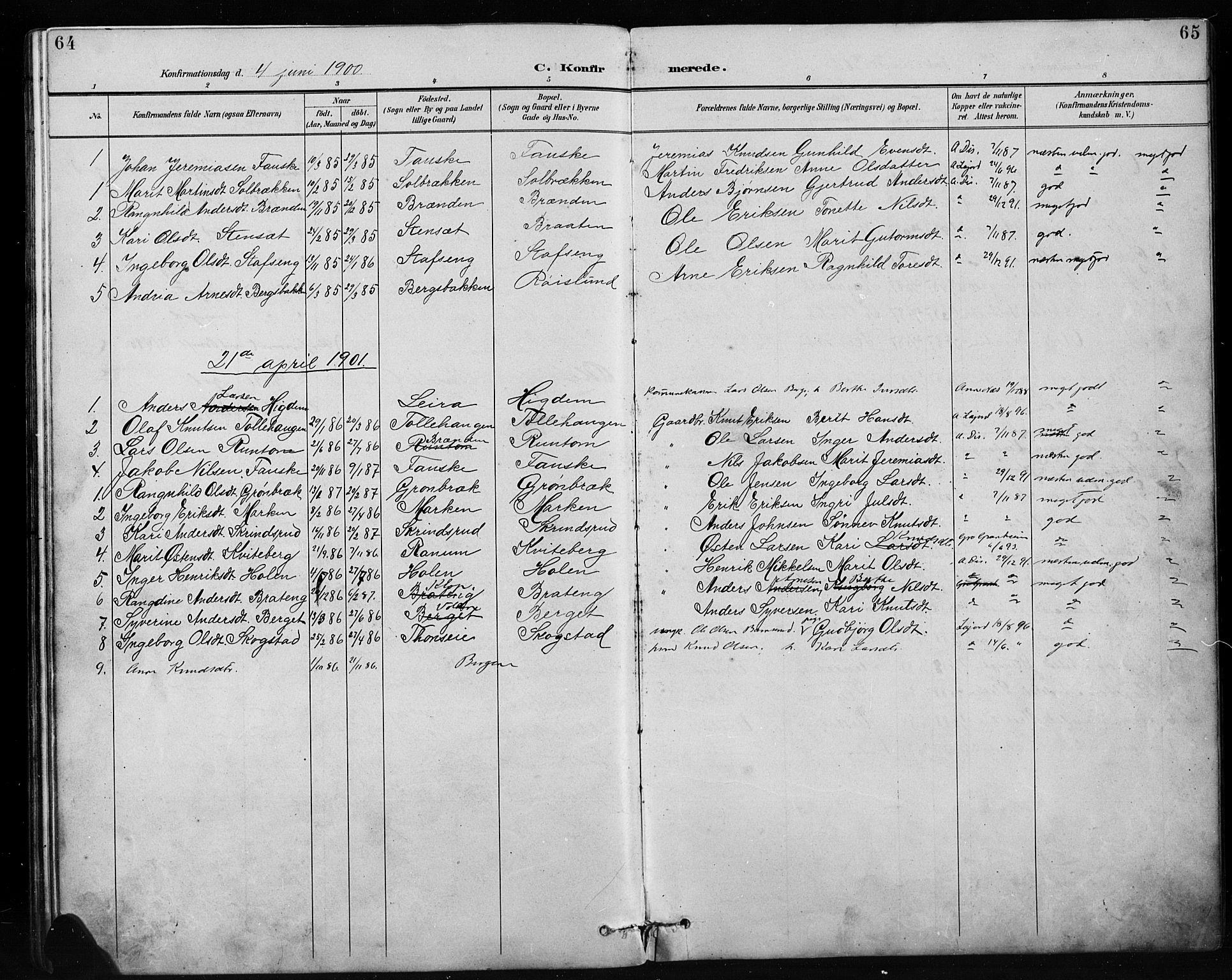 SAH, Etnedal prestekontor, H/Ha/Hab/Habb/L0001: Klokkerbok nr. II 1, 1894-1911, s. 64-65