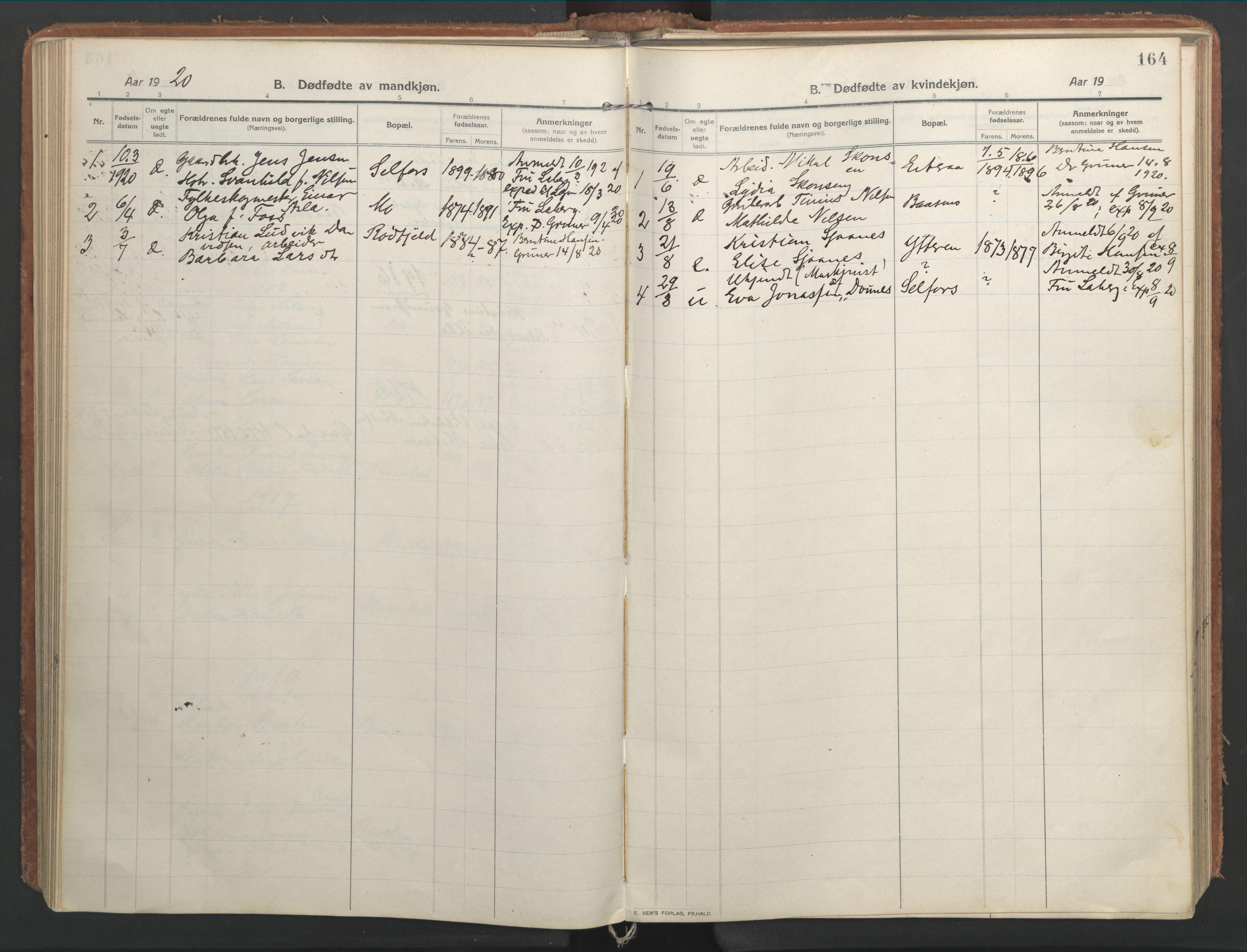 SAT, Ministerialprotokoller, klokkerbøker og fødselsregistre - Nordland, 827/L0404: Ministerialbok nr. 827A16, 1912-1925, s. 164